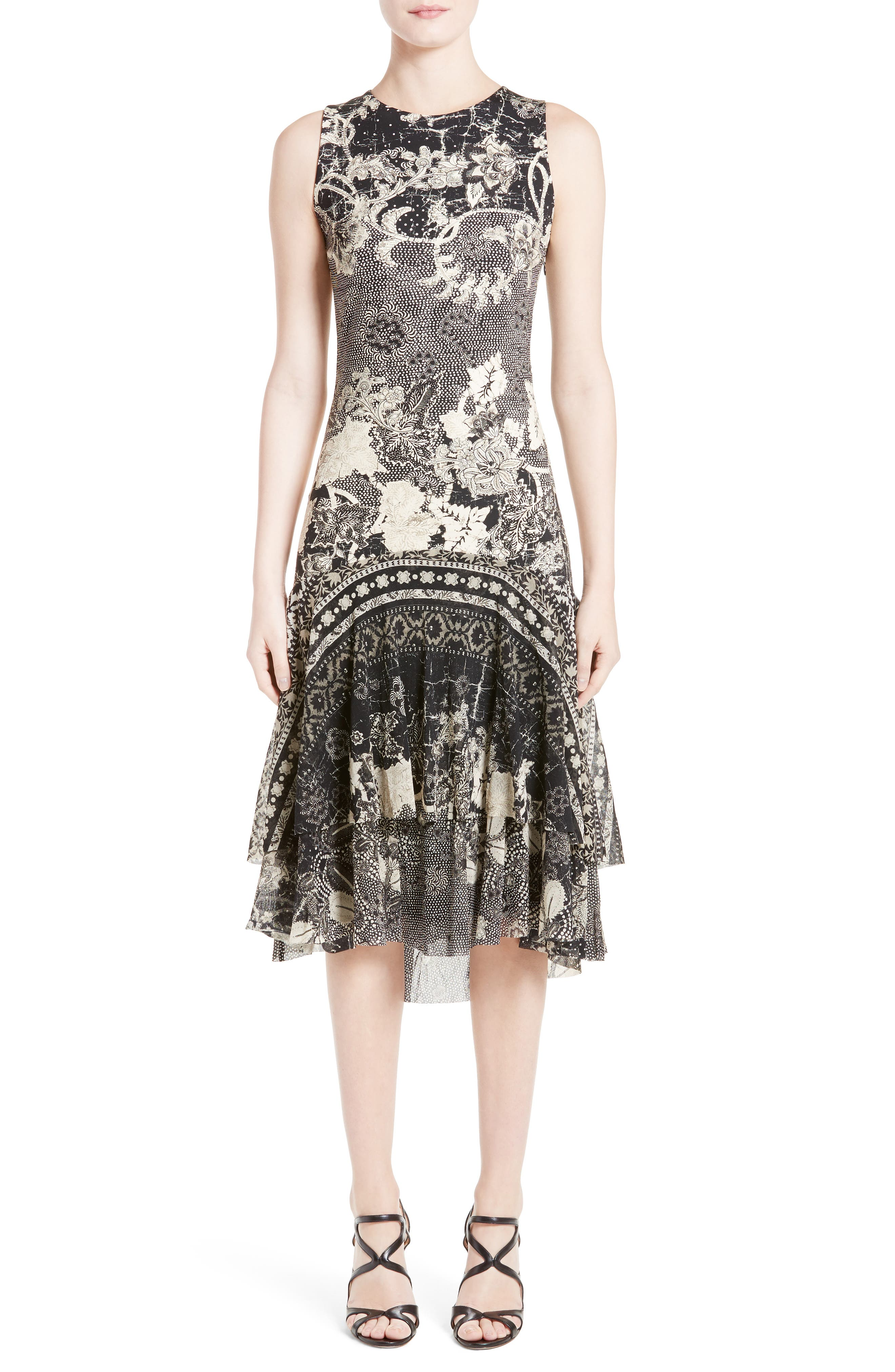 FUZZI Floral Scuba Dress