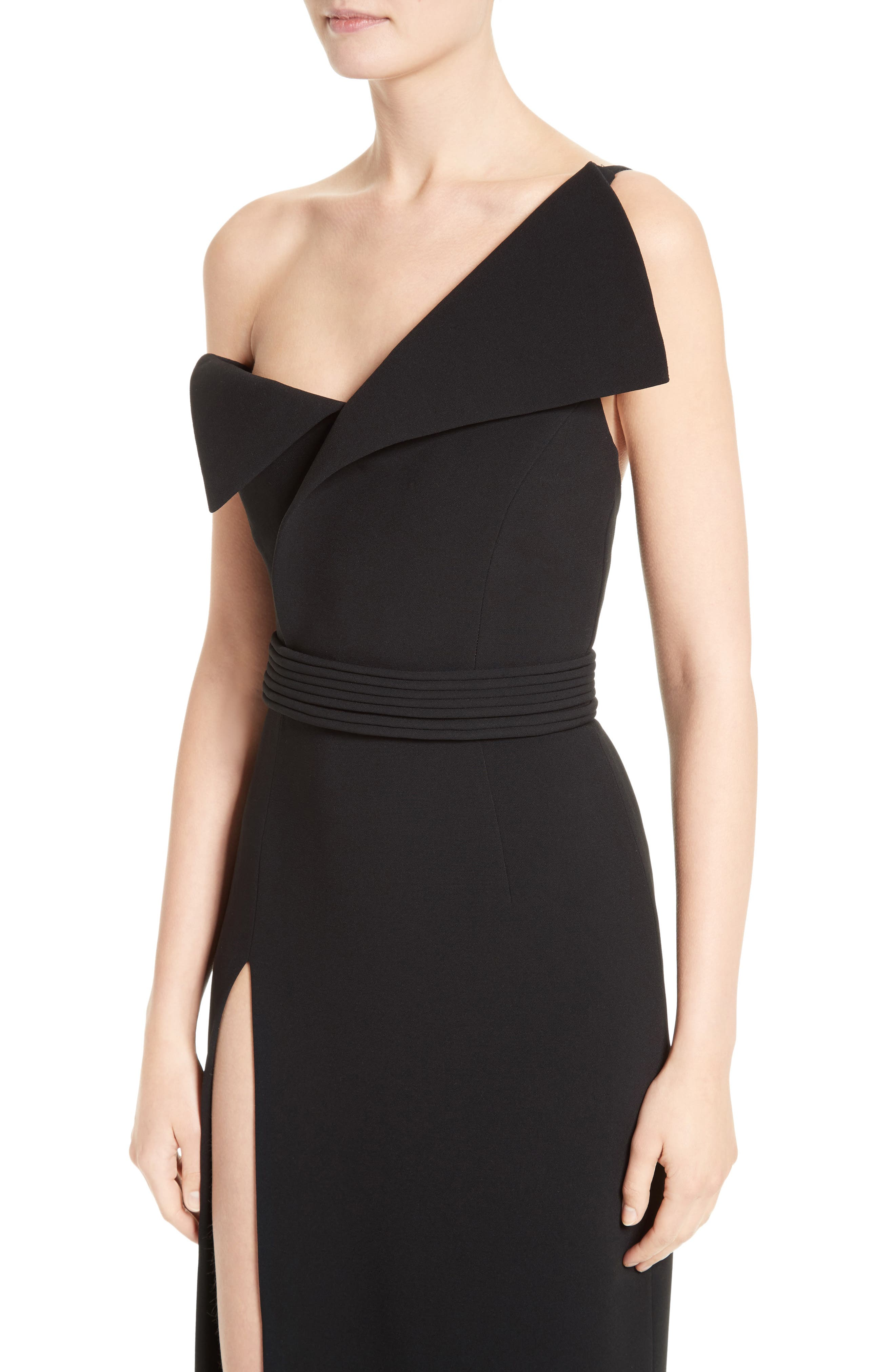 Alternate Image 5  - Brandon Maxwell Belted Foldover Neck Gown with High Slit