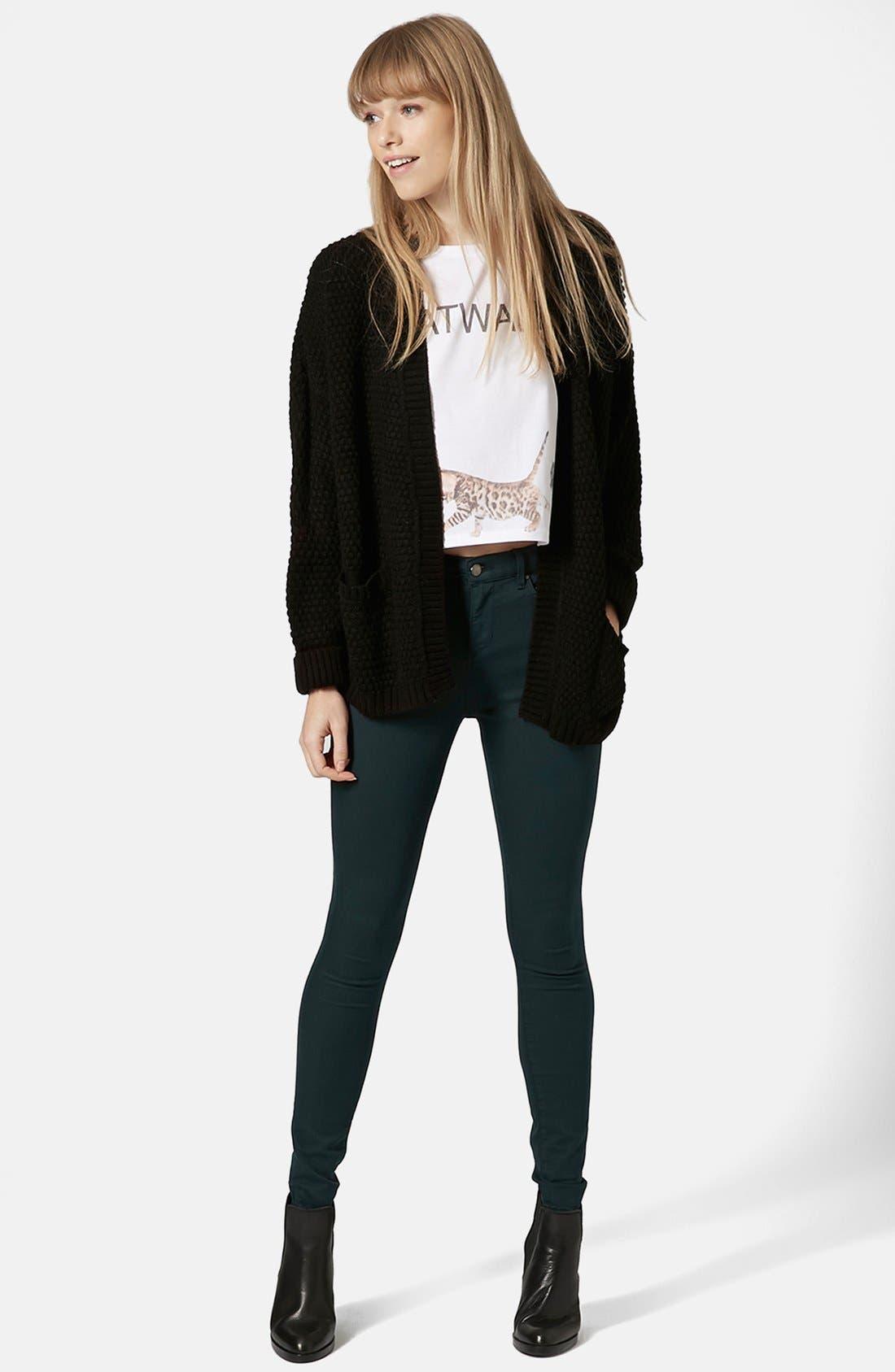 Alternate Image 5  - Topshop Moto 'Leigh' High Rise Skinny Jeans (Teal) (Regular & Short)