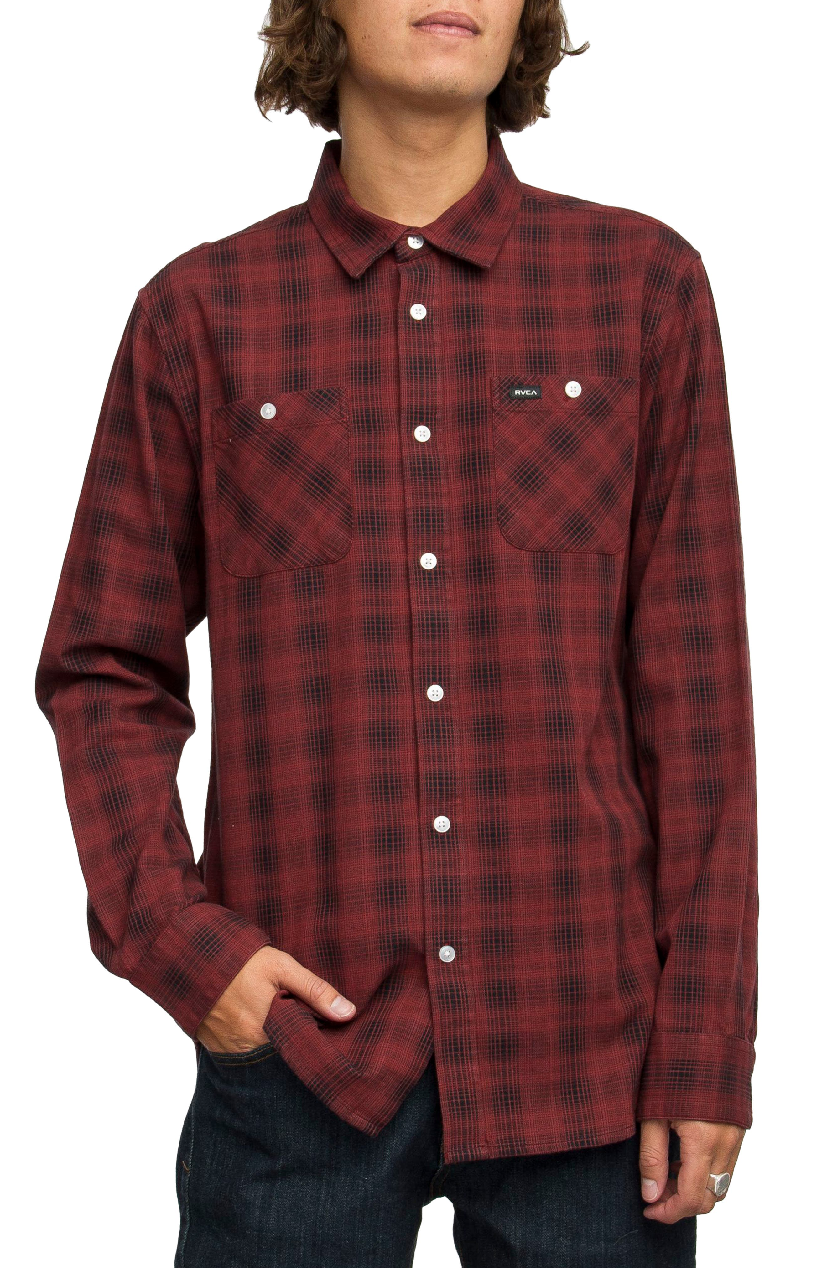 Alternate Image 1 Selected - RVCA Trample Plaid Flannel Shirt
