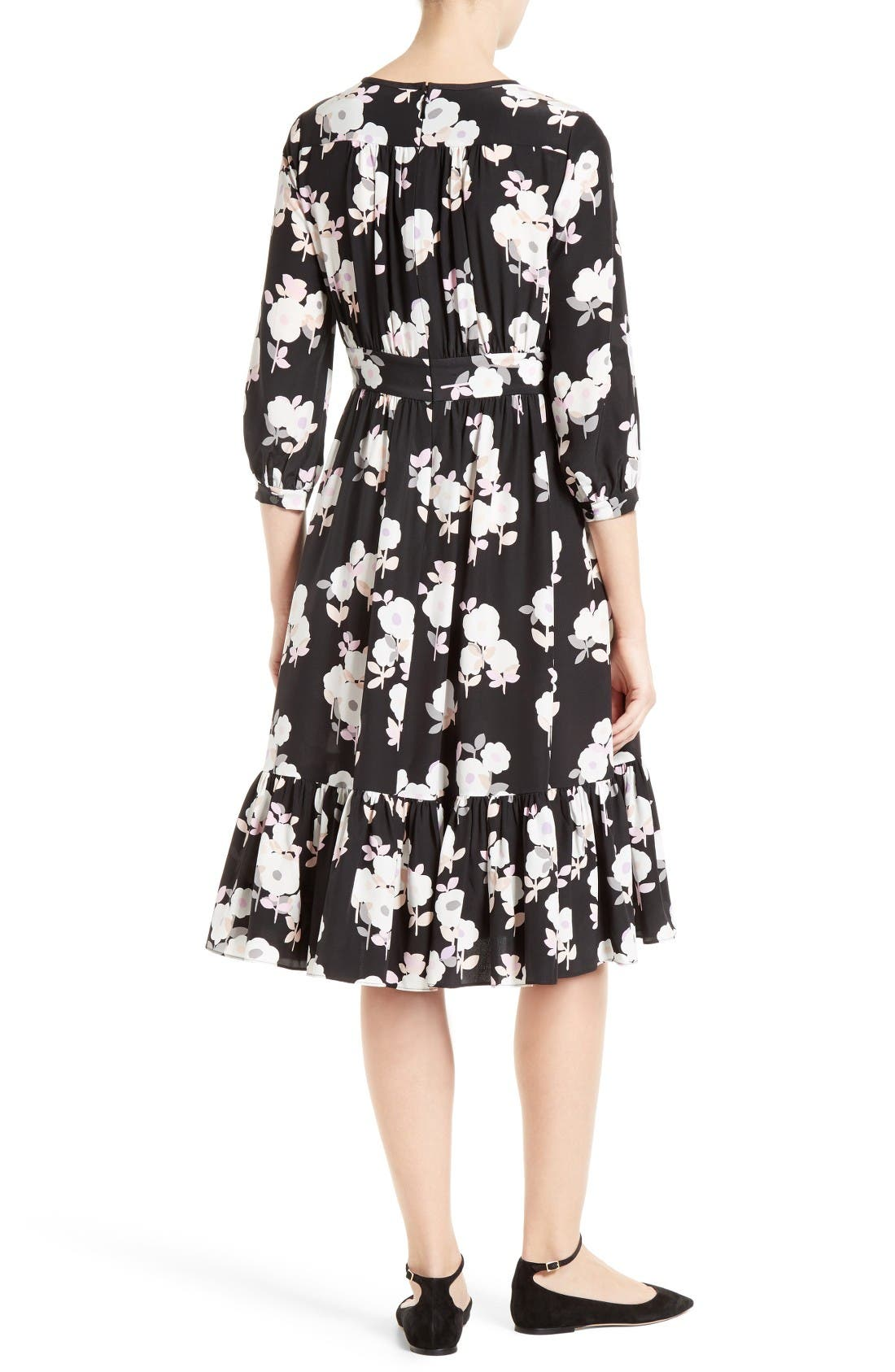 Alternate Image 2  - kate spade new york posy floral silk midi dress