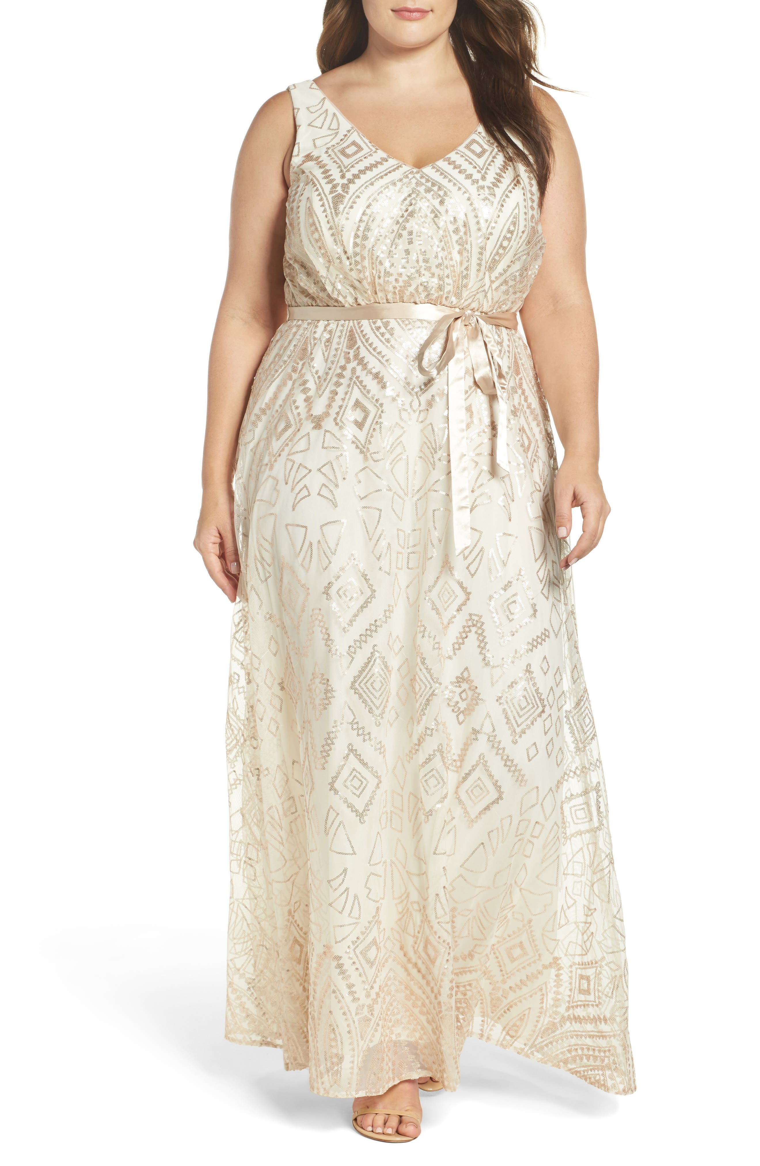 Marina Sequin Mesh Belted Long Dress (Plus Size)