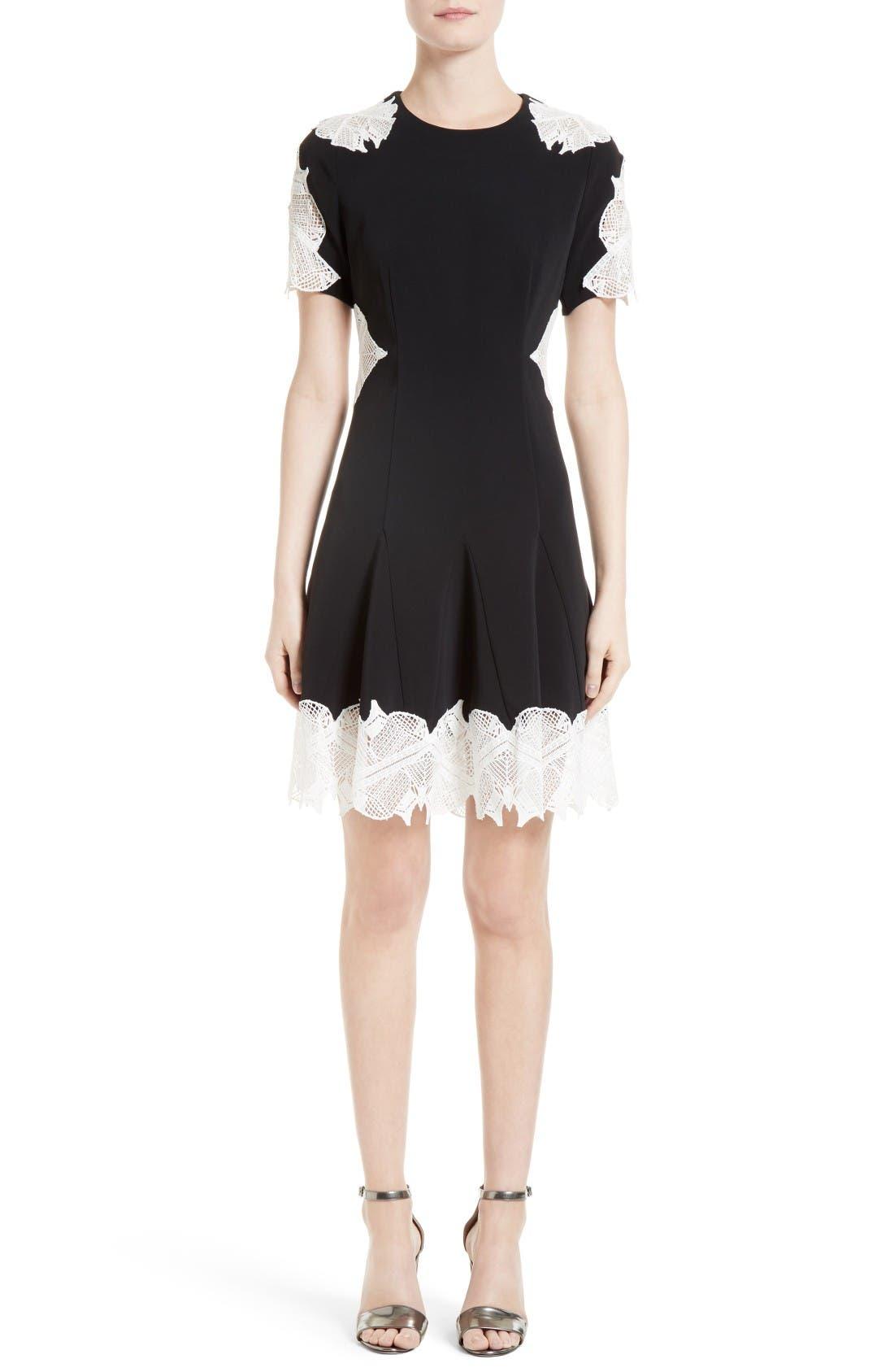 JONATHAN SIMKHAI Corded Lace Trim Crepe Dress