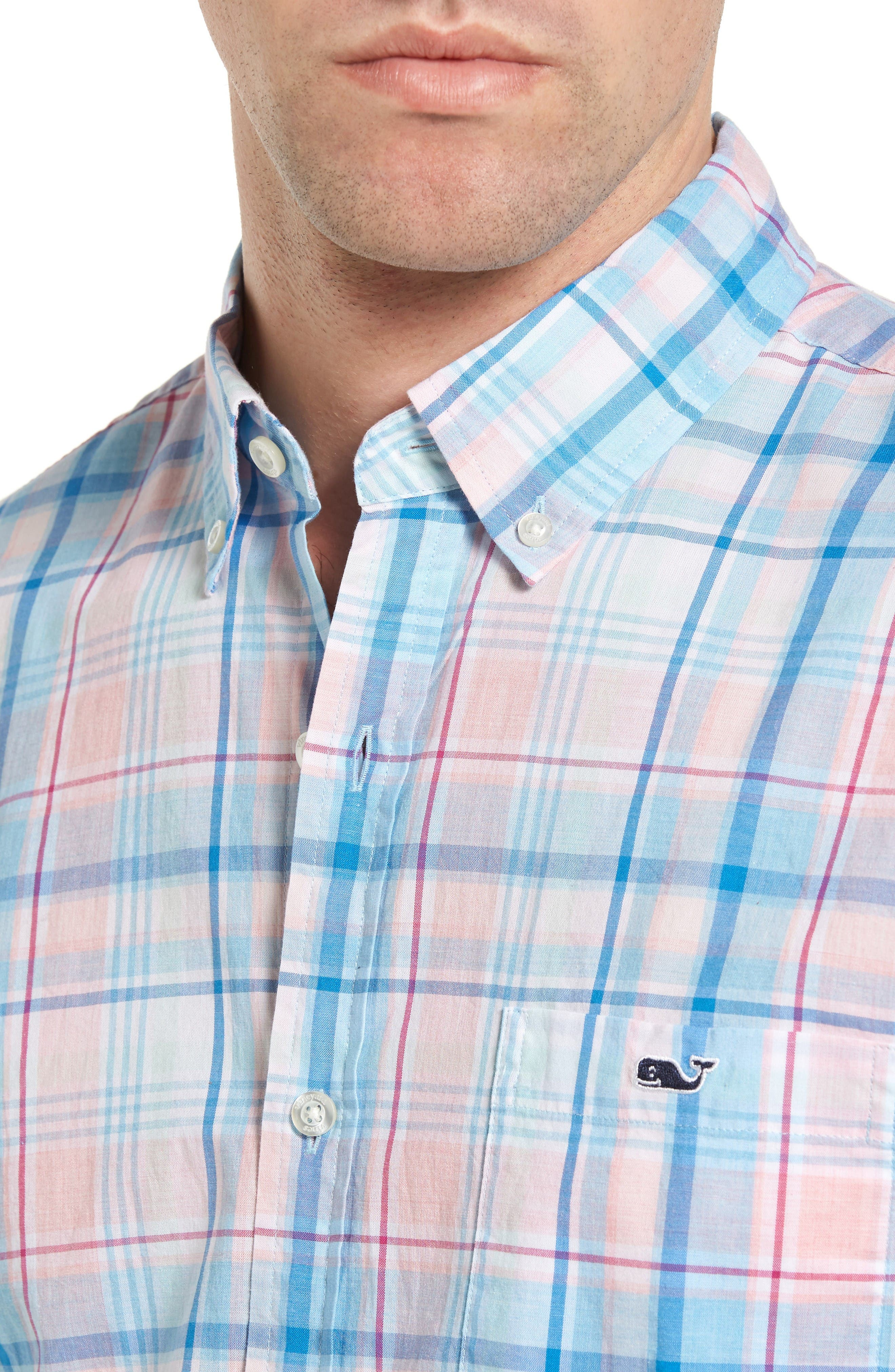 Alternate Image 4  - Vineyard Vines Sabab Rock Tucker Slim Fit Plaid Sport Shirt