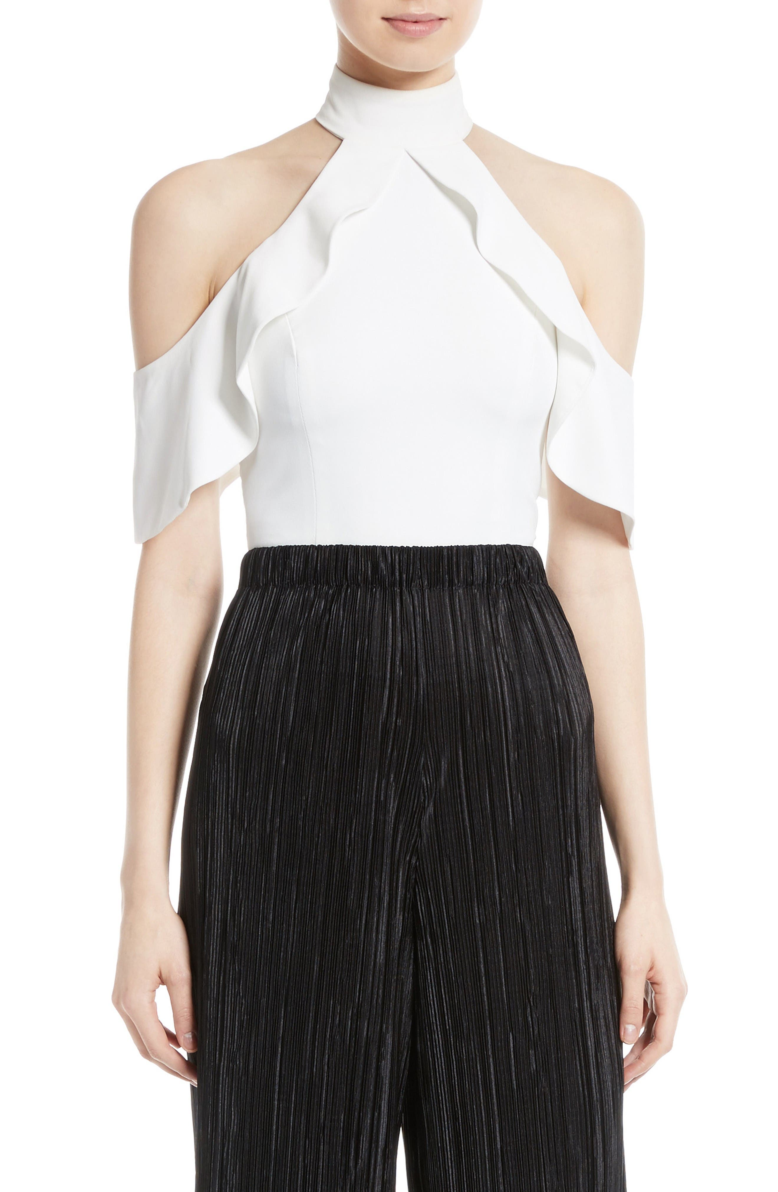 Alice + Olivia Cabot Ruffle Cold Shoulder Crop Top