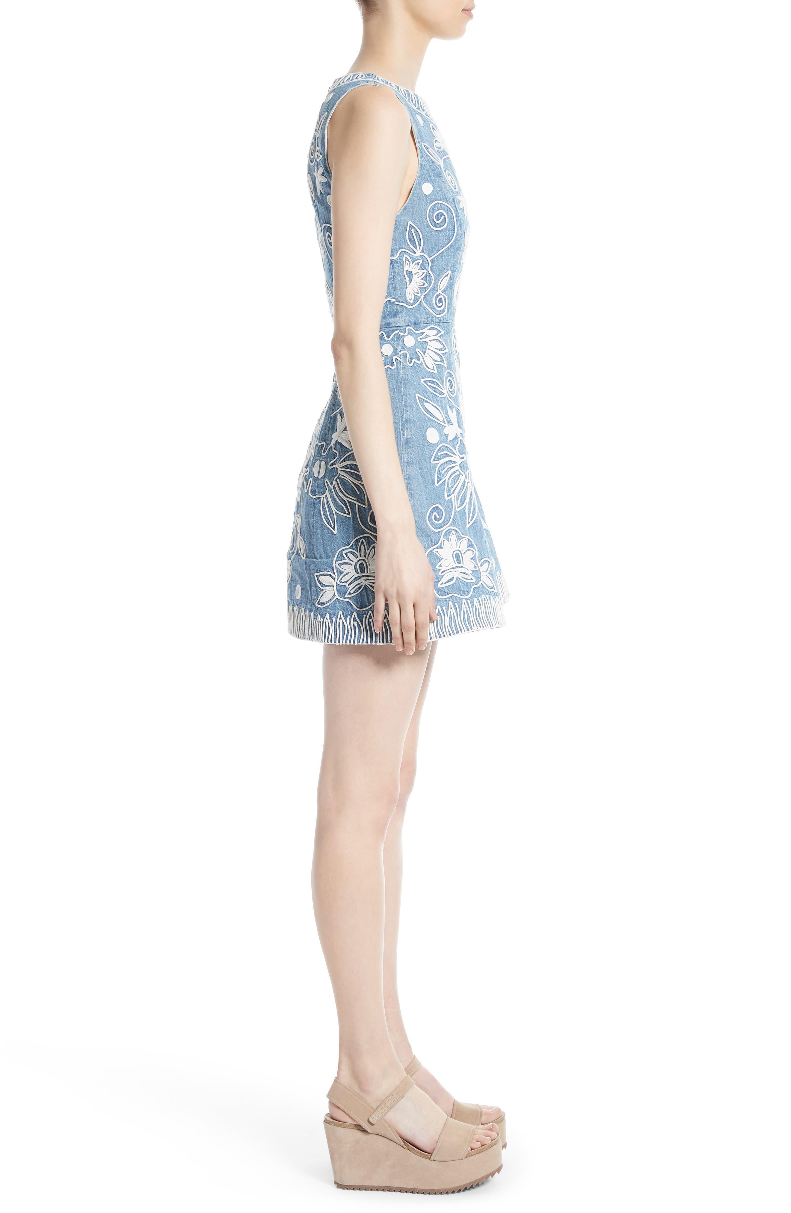 Alternate Image 3  - Alice + Olivia Lindsey Embroidered A-Line Dress