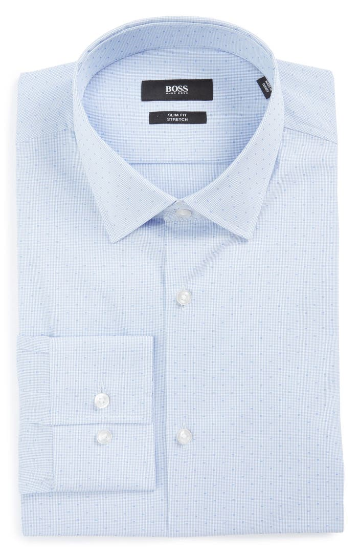 Boss slim fit stretch check dress shirt nordstrom for How to stretch a dress shirt