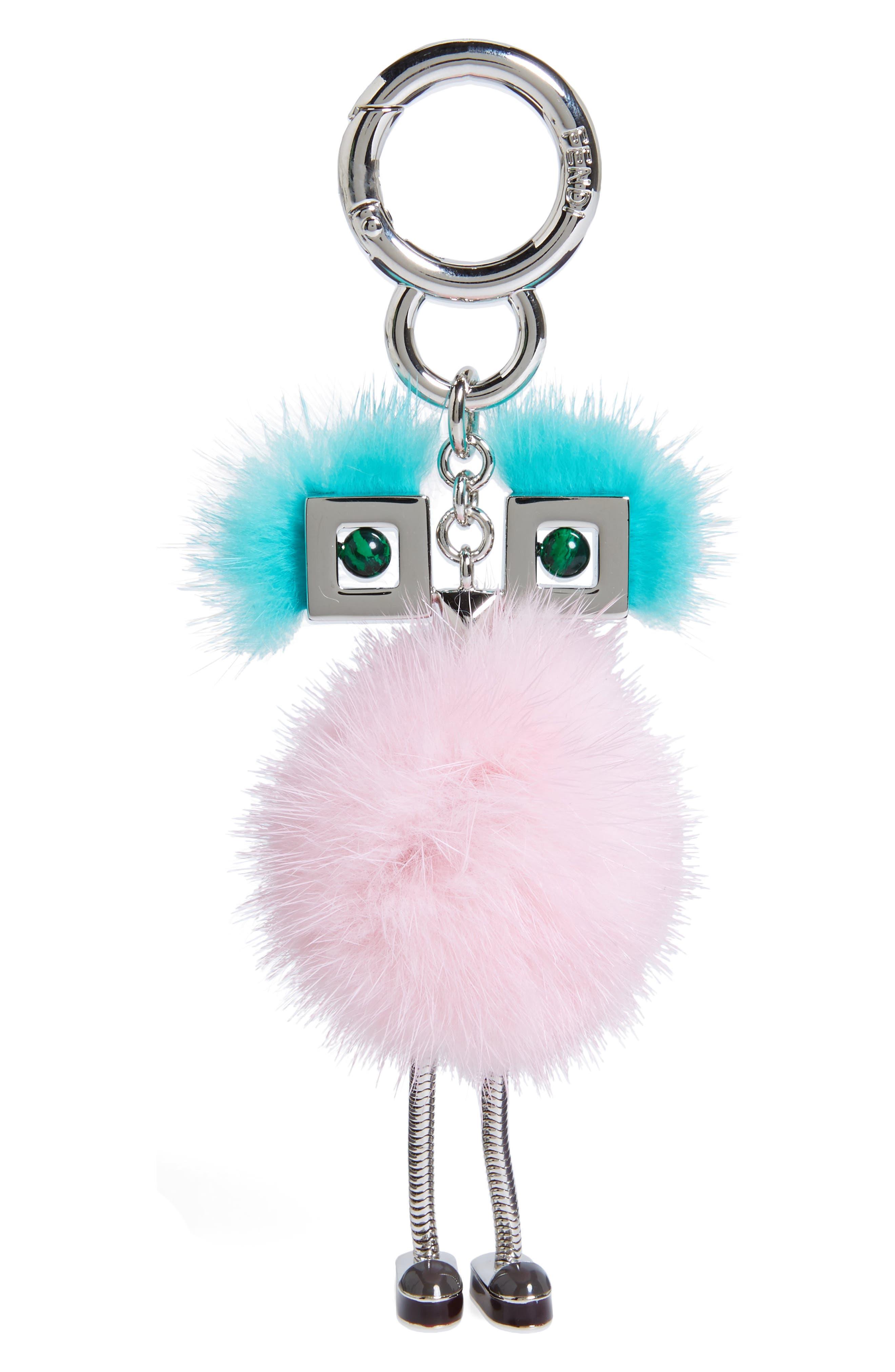 Alternate Image 1 Selected - Fendi Metal & Genuine Mink Fur Bag Charm
