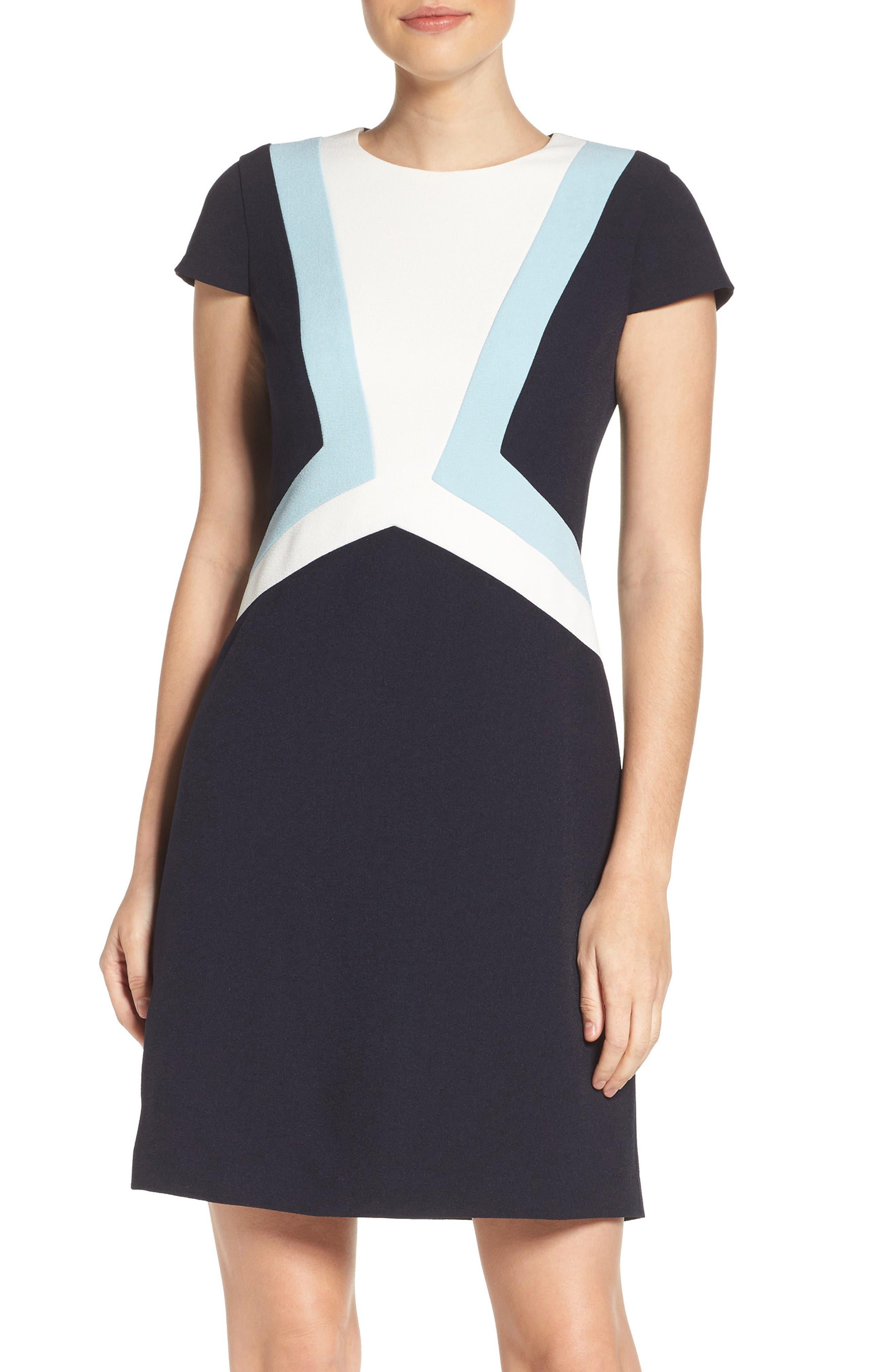 Main Image - Vince Camuto Colorblock Shift Dress (Regular & Petite)