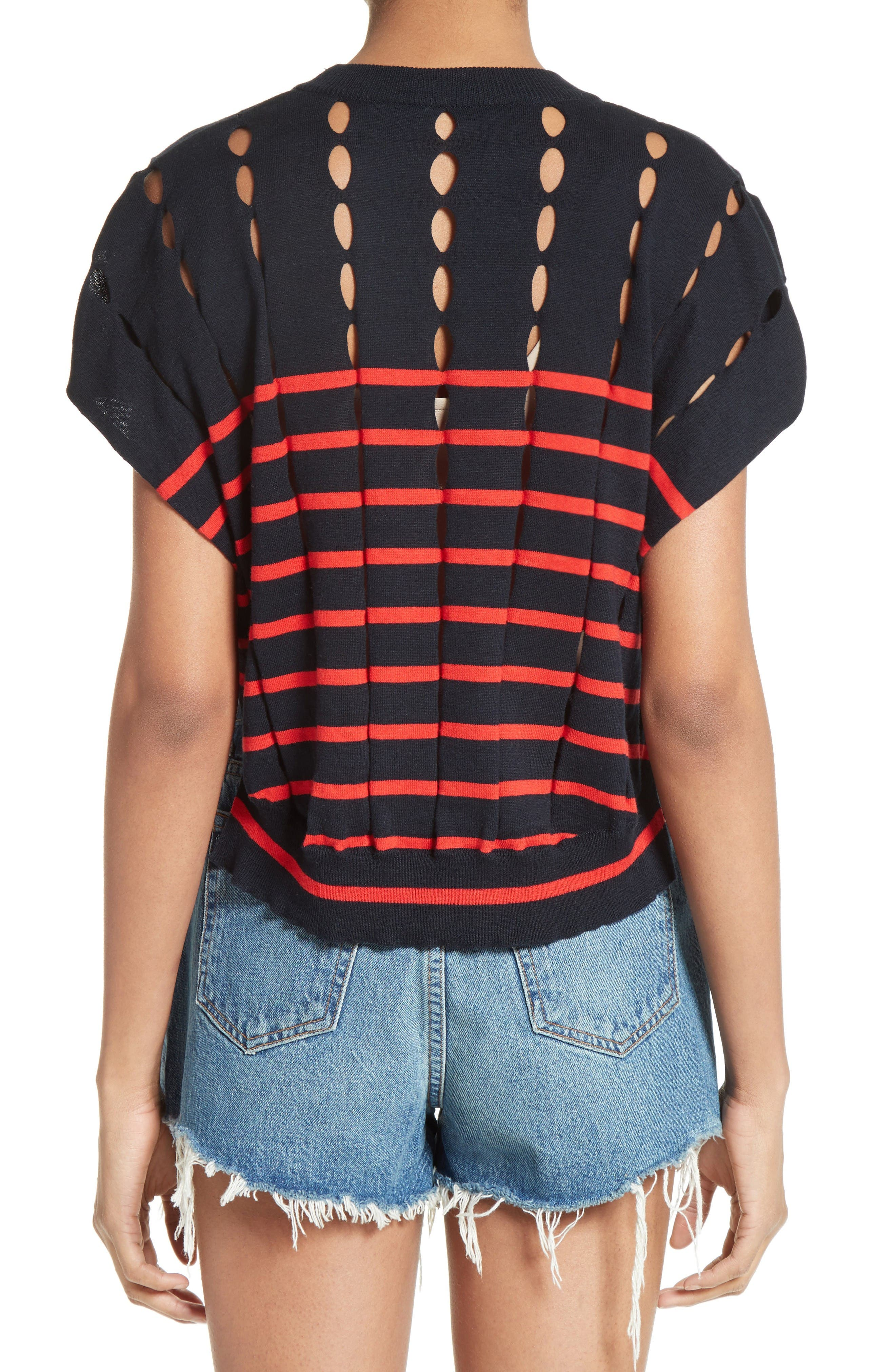 Alternate Image 2  - T by Alexander Wang Stripe Knit Pullover