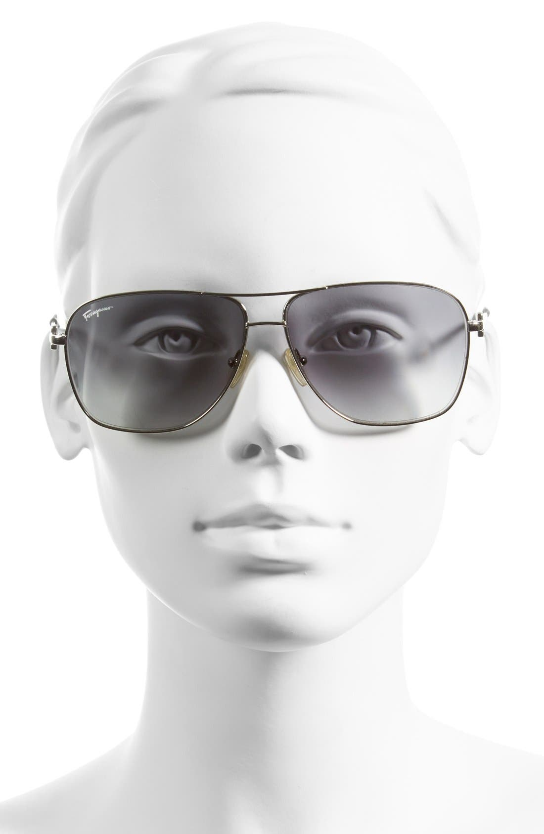 Alternate Image 2  - Salvatore Ferragamo 61mm Metal Navigator Sunglasses