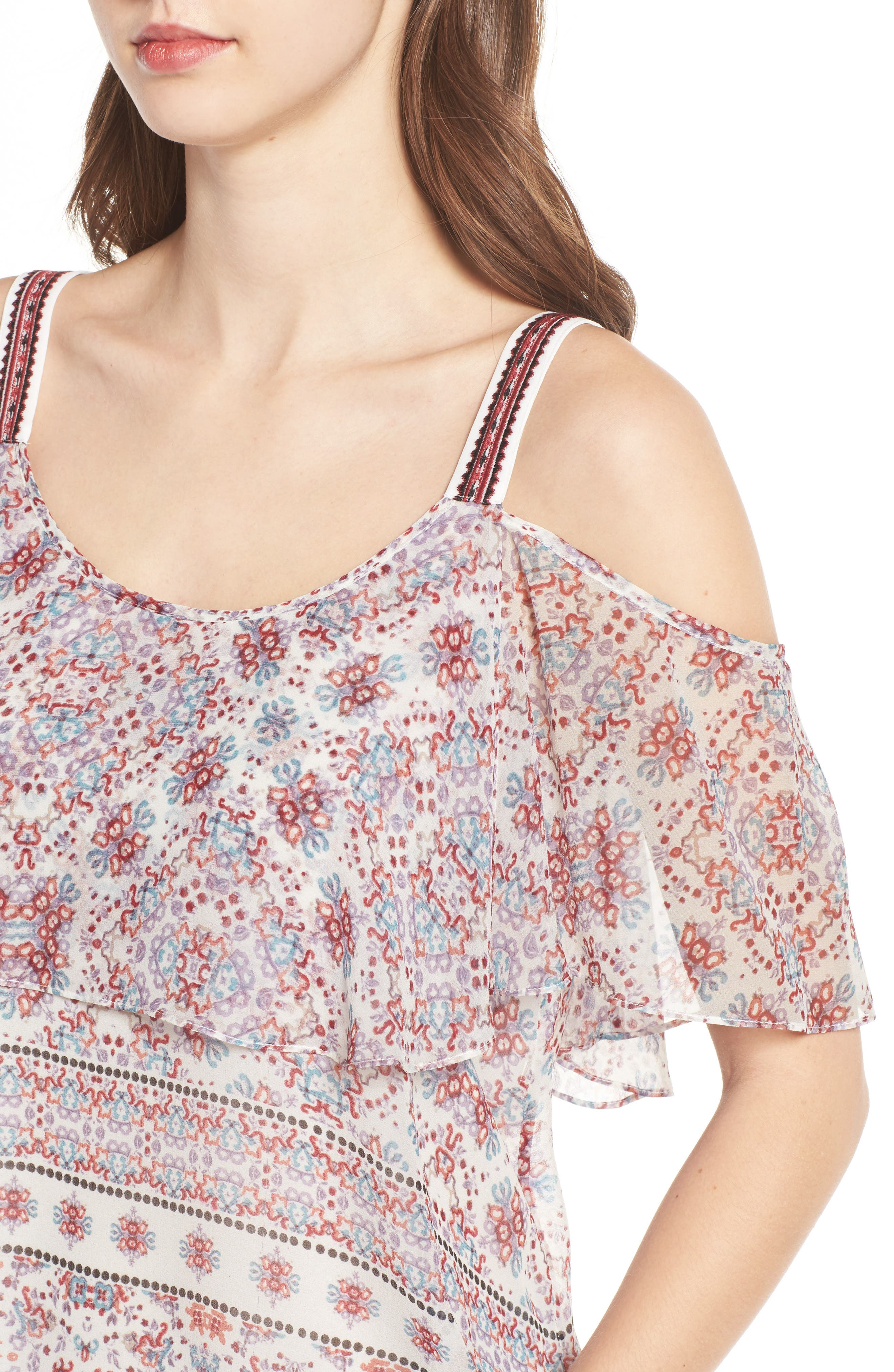 Alternate Image 4  - Ella Moss Wayfare Cold Shoulder Silk Top