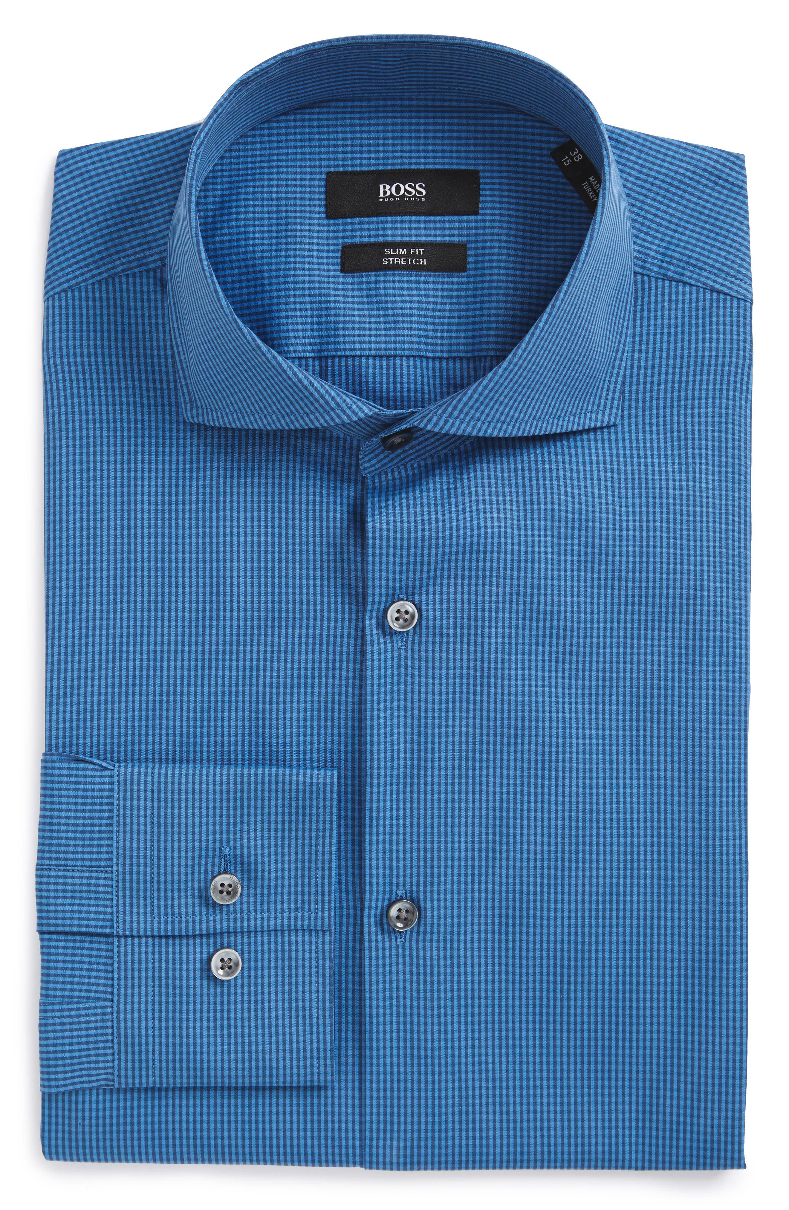 BOSS Jason Slim Fit Check Stretch Dress Shirt