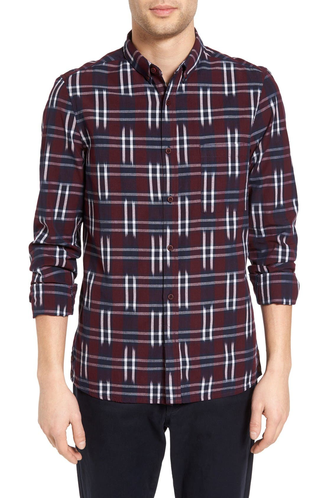 French Connection Slim Fit Ikat Check Sport Shirt