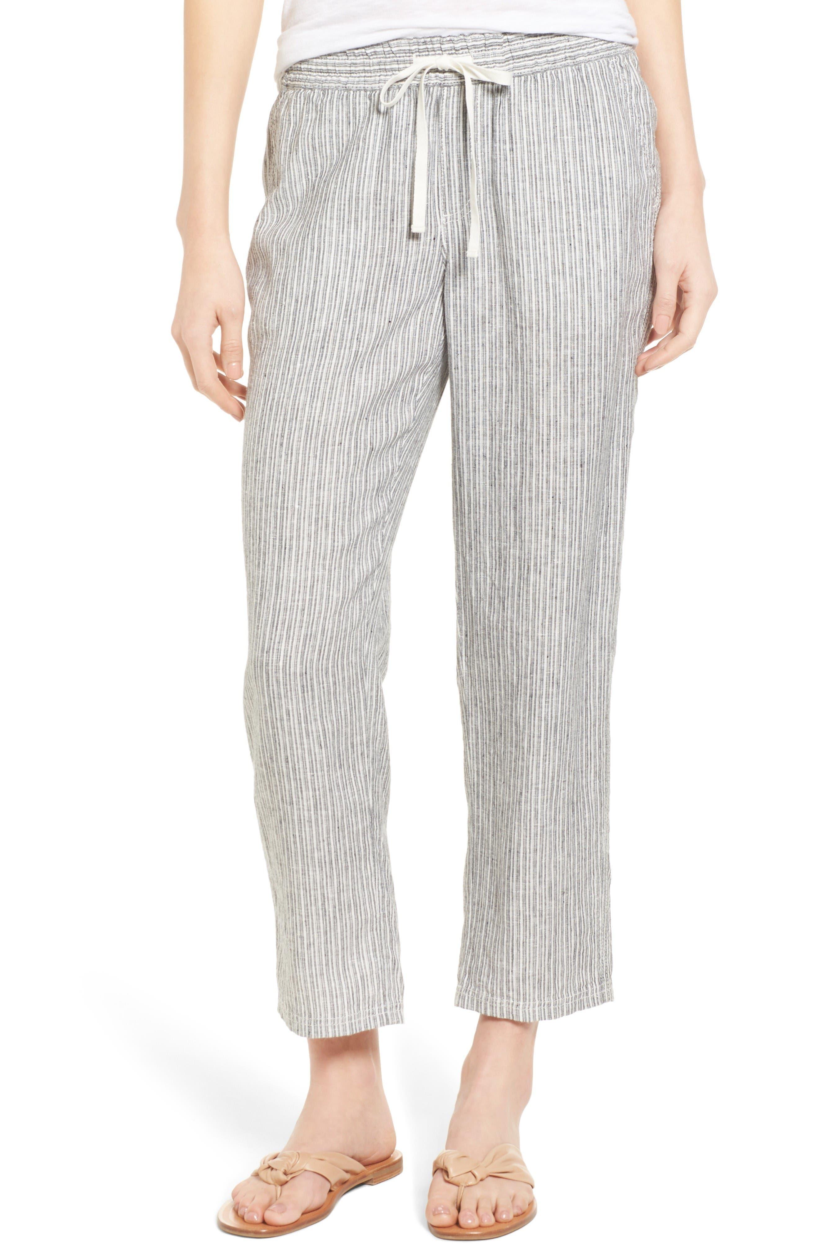 Caslon® Linen Crop Pants (Regular & Petite)