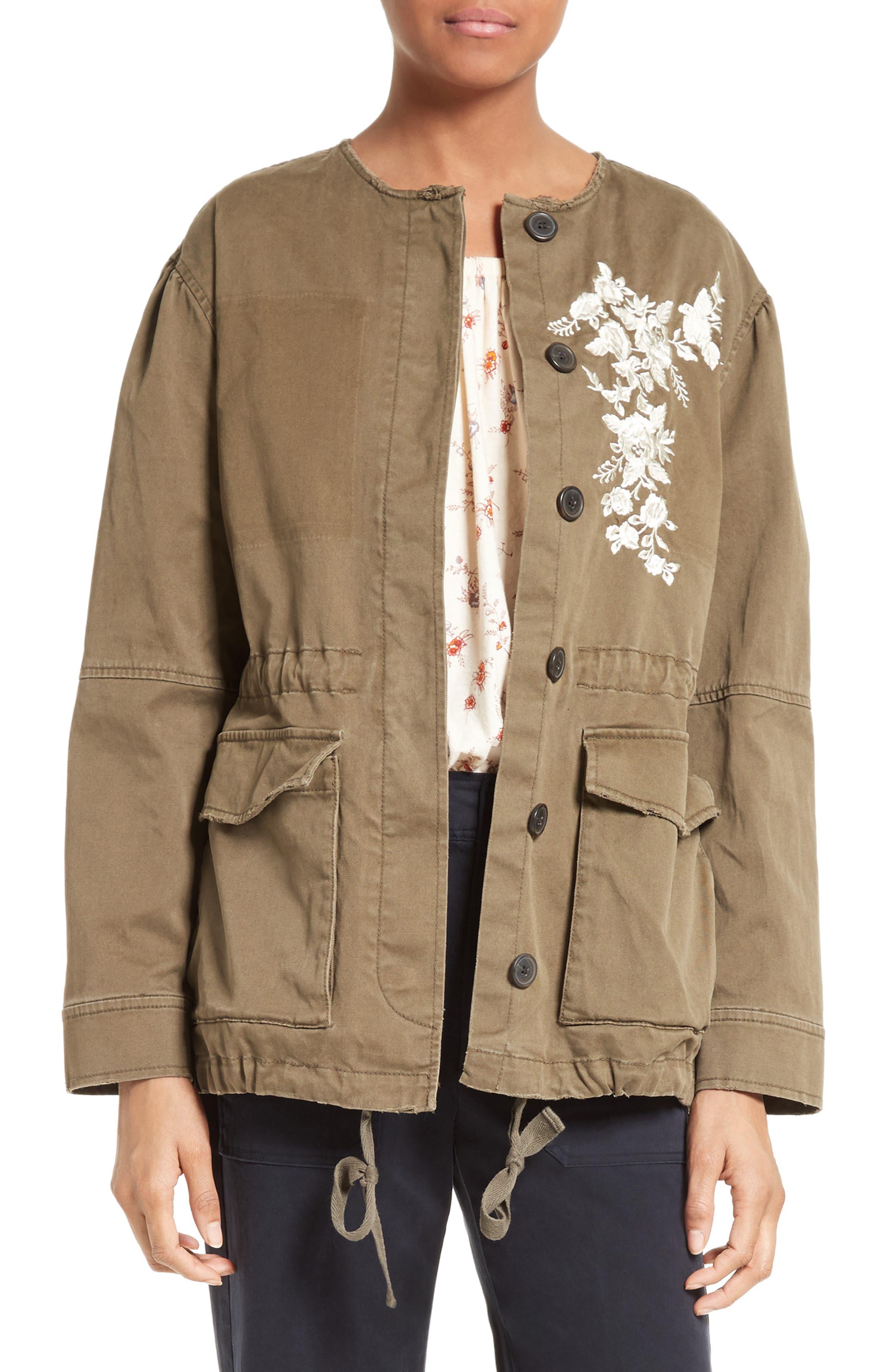 La Vie Rebecca Taylor Embroidered Stretch Twill Jacket