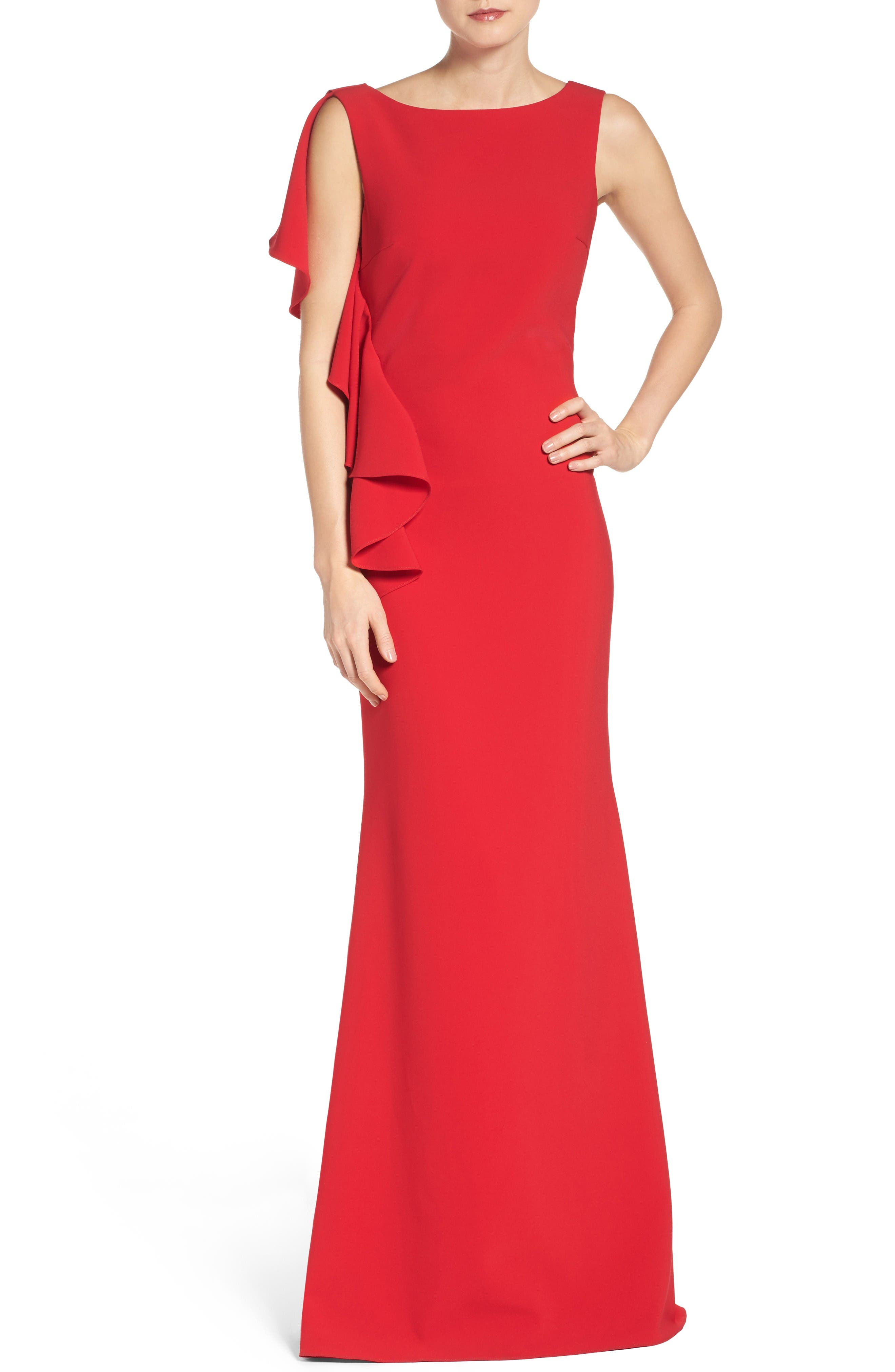 Alternate Image 1 Selected - Badgley Mischka Ruffle Stretch Gown