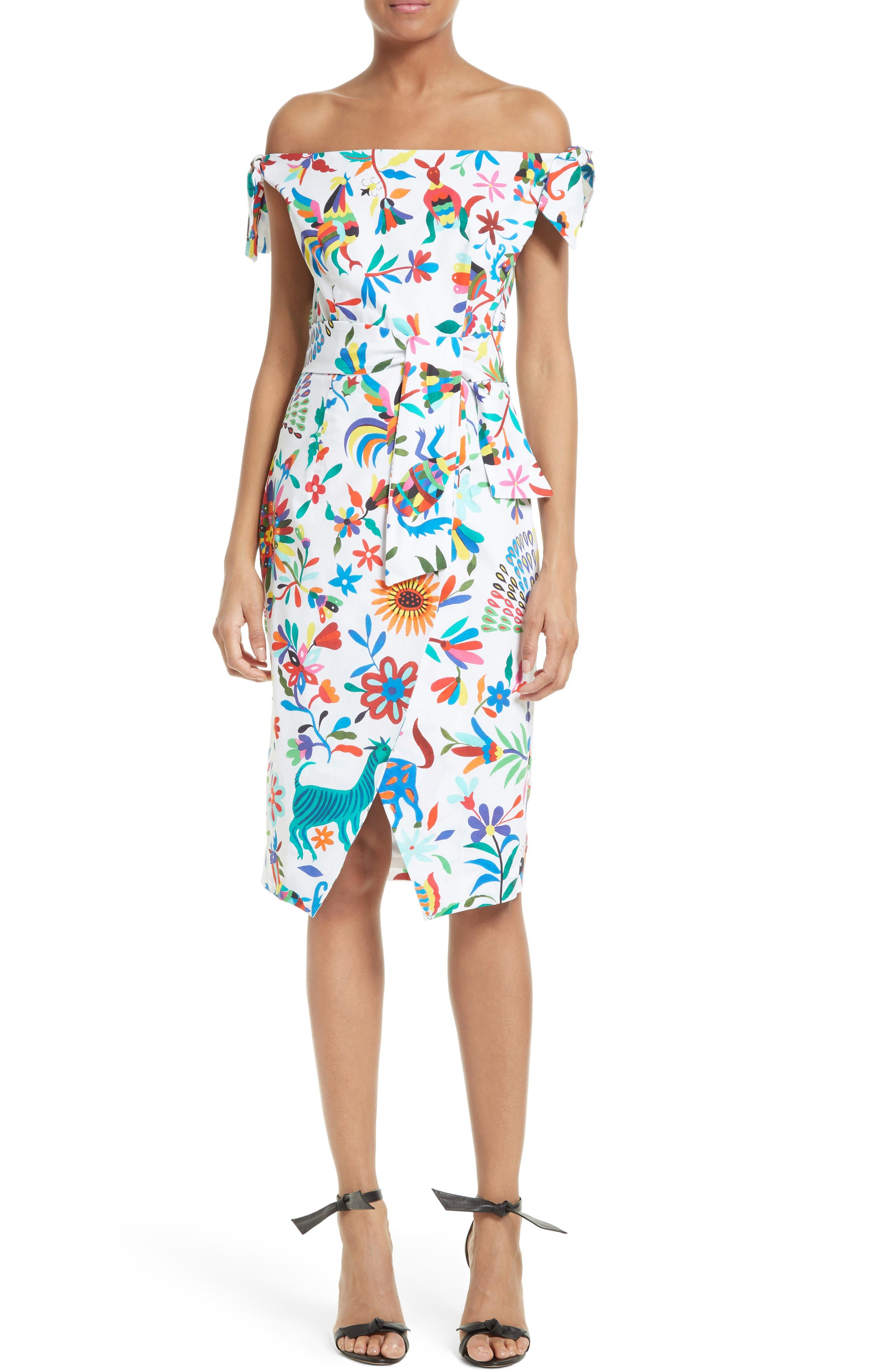 Milly Folkloric Print Poplin Dress