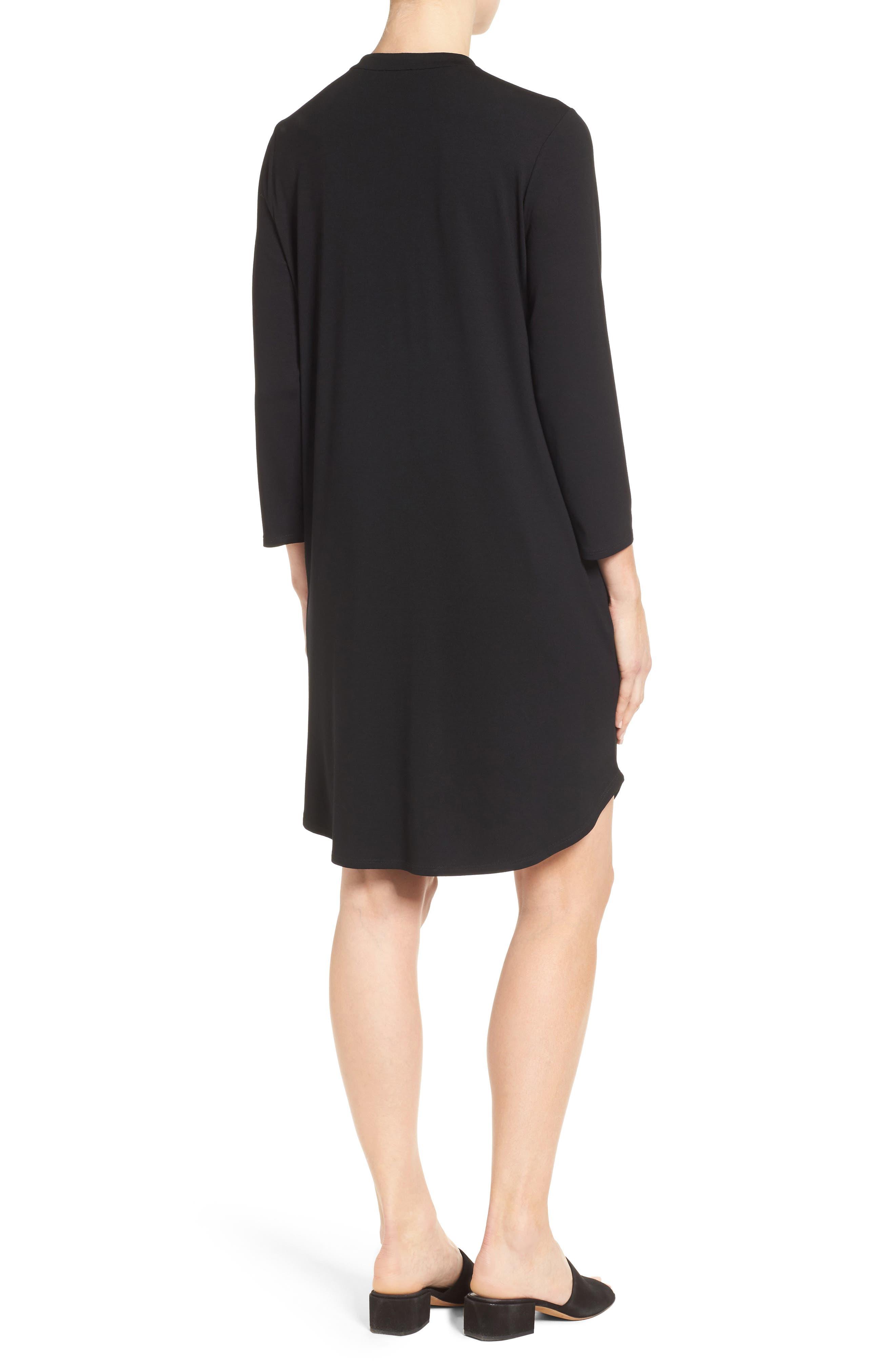Alternate Image 2  - Eileen Fisher Mandarin Collar Jersey Shirtdress (Regular & Petite)