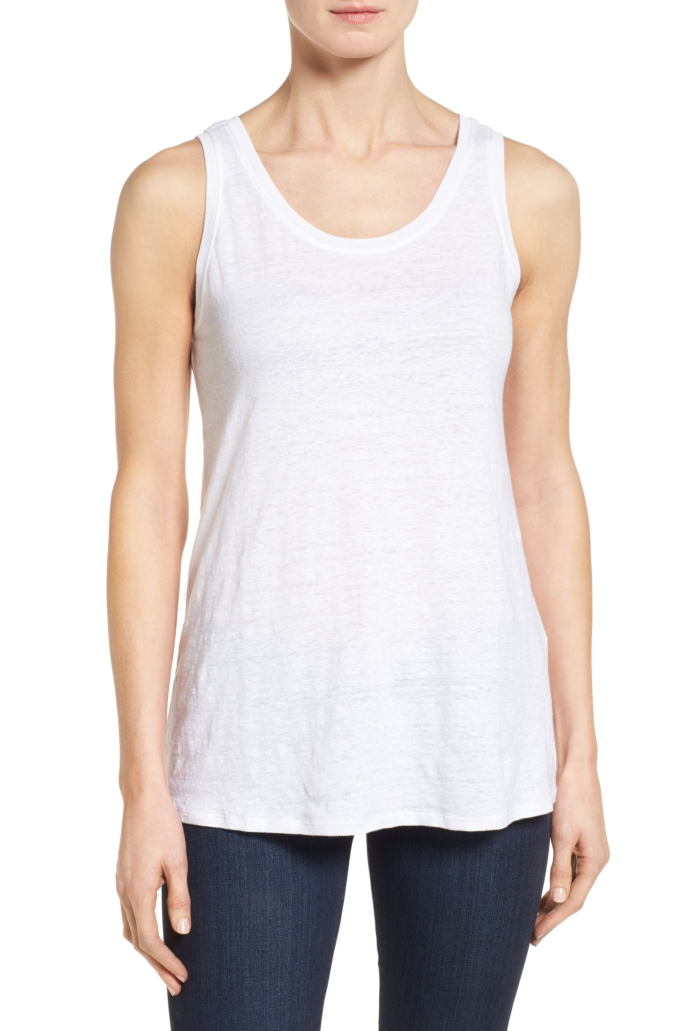 Eileen Fisher U-Neck Organic Linen Tank (Regular & Petite)