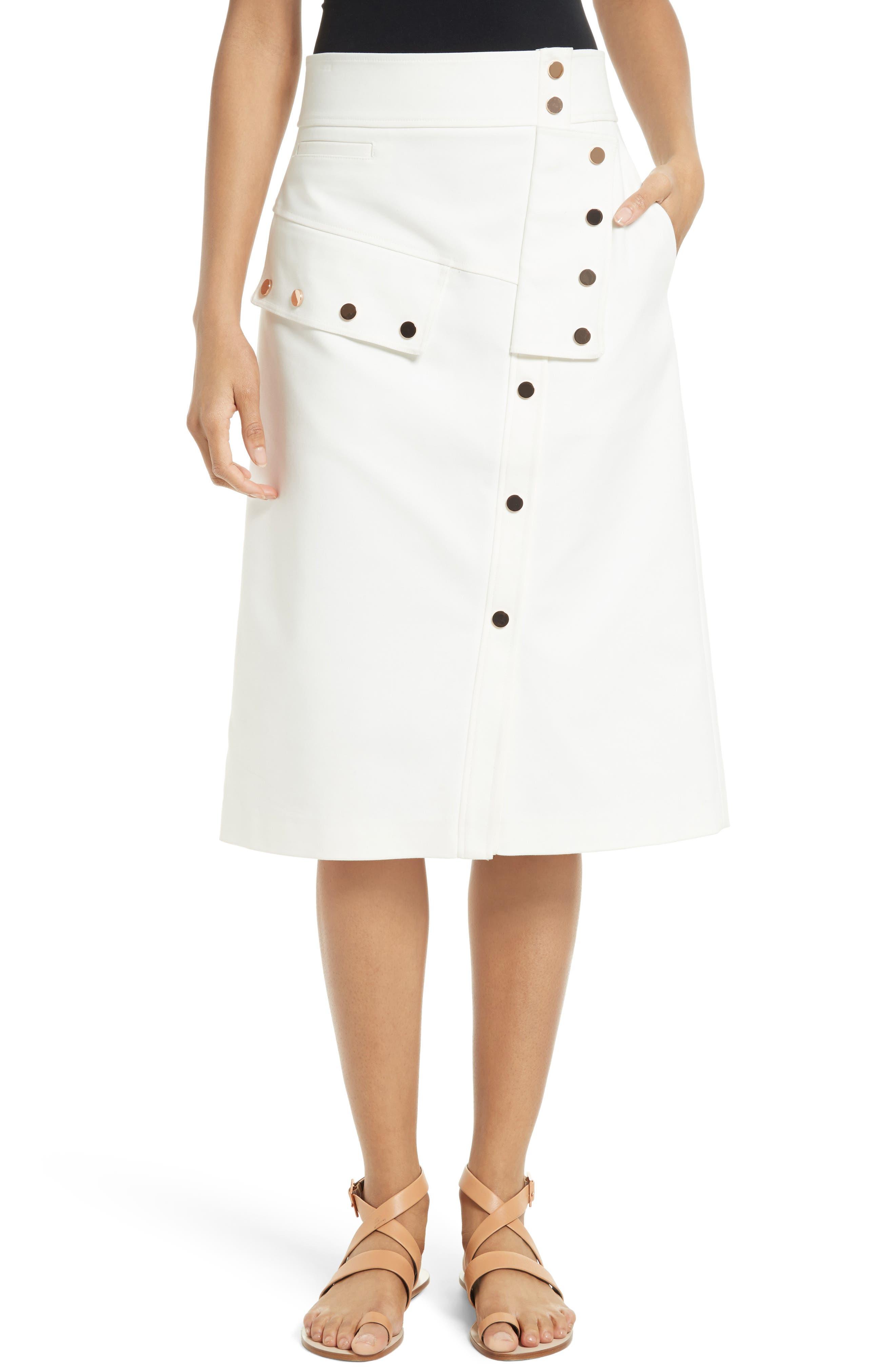 Tibi Snap Front A-Line Skirt