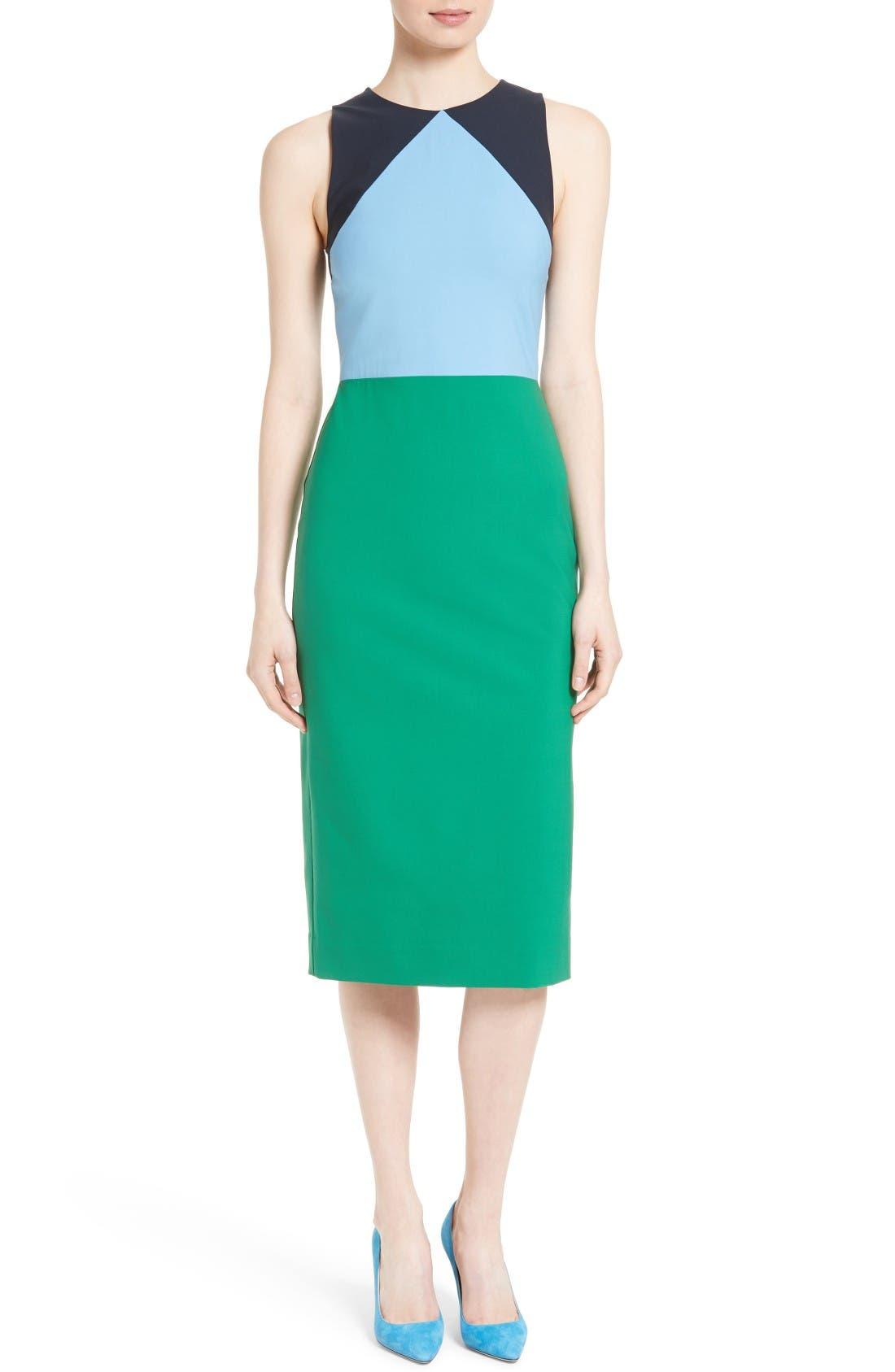 Diane von Furstenberg Stretch Wool Midi Sheath Dress