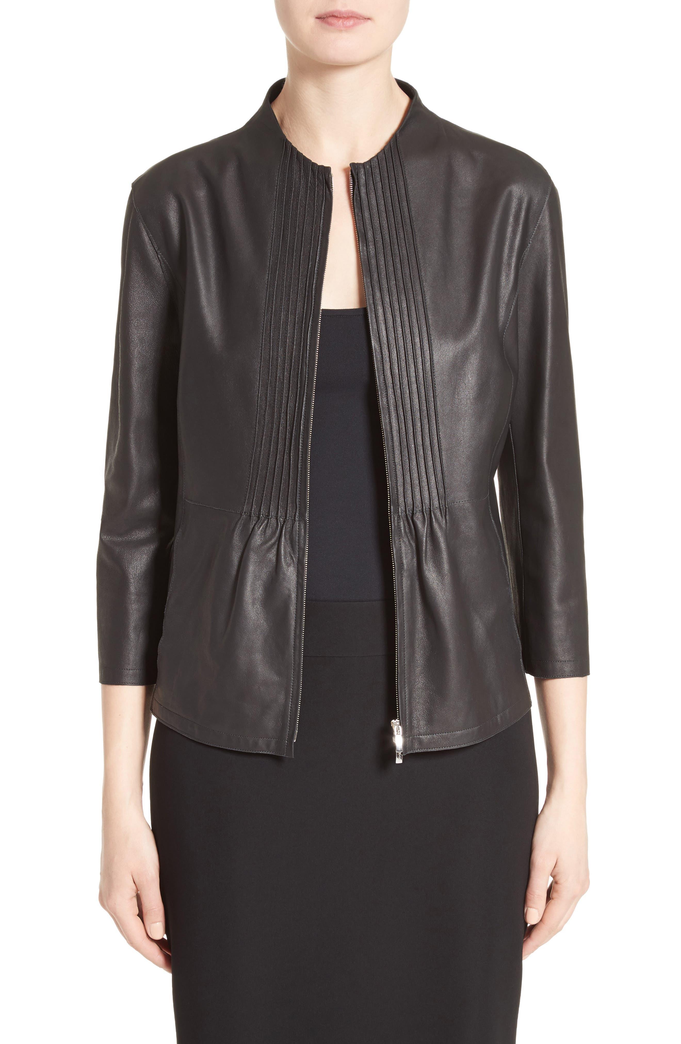 ARMANI COLLEZIONI Pintuck Leather Jacket