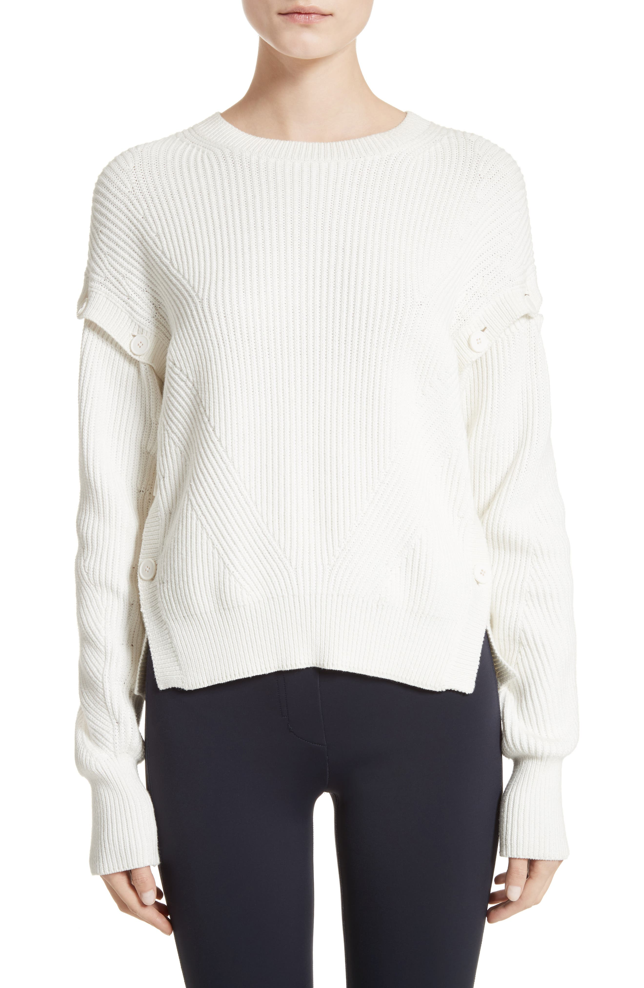 Helmut Lang Cotton Sweater with Detachable Sleeves