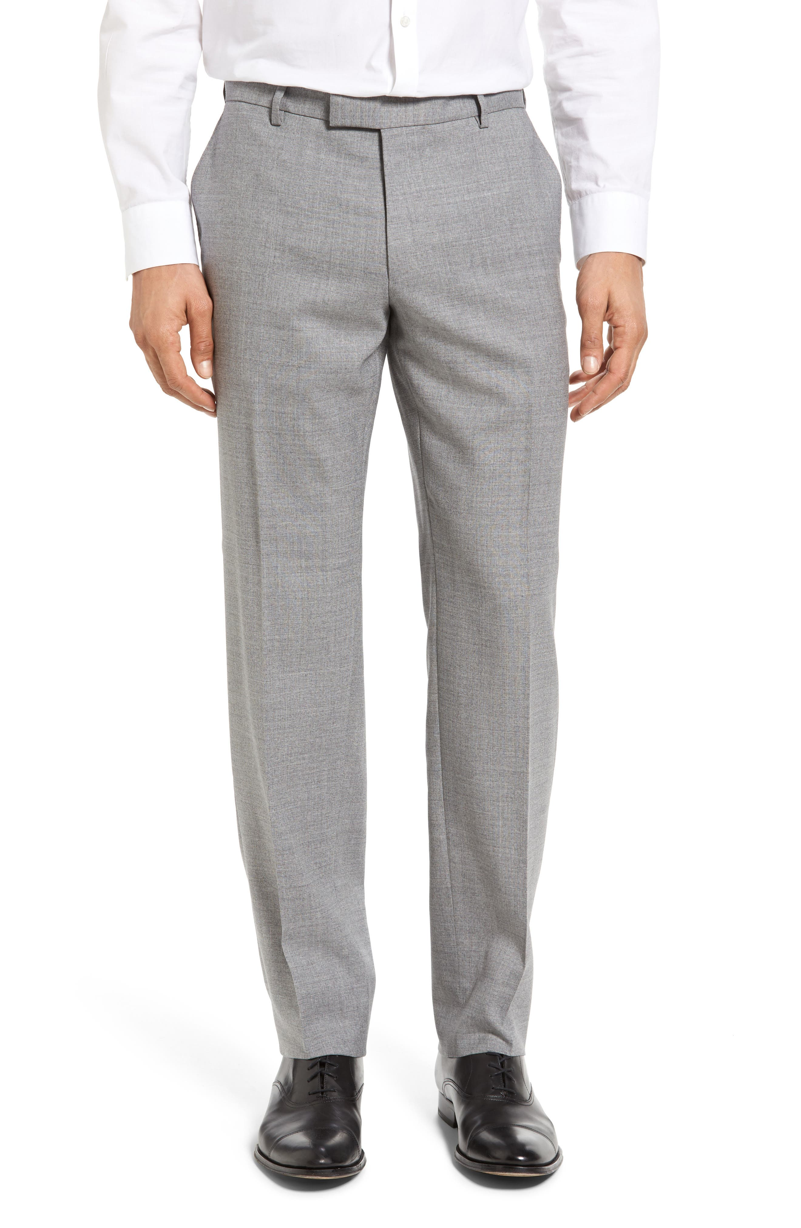 BOSS T-Court Slim Fit Flat Front Solid Wool