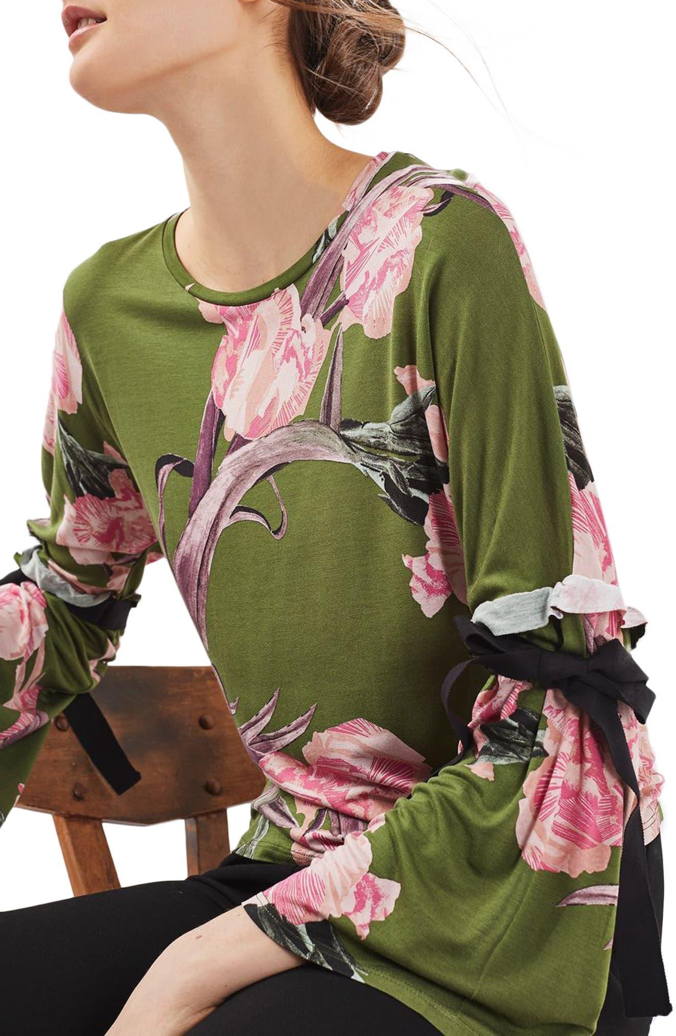 Main Image - Topshop Floral Tie Flute Sleeve Top
