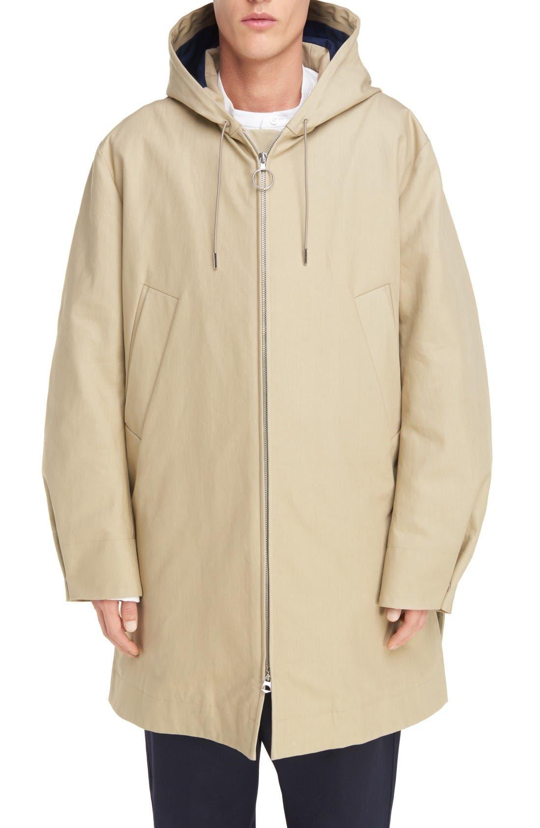 ACNE STUDIOS Melt Long Hooded Zip Front Coat