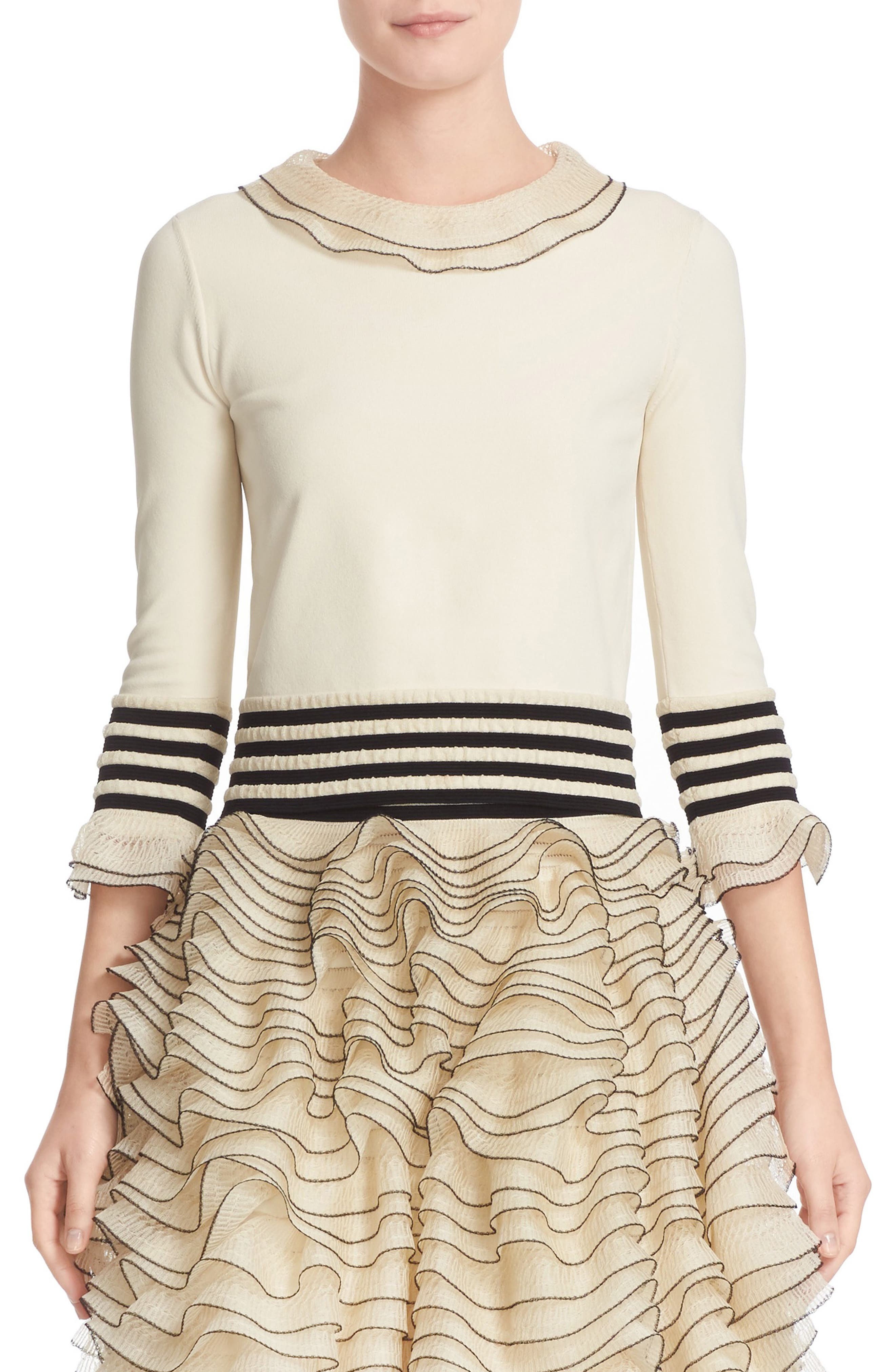 ALEXANDER MCQUEEN Graphic Frill Knit Top