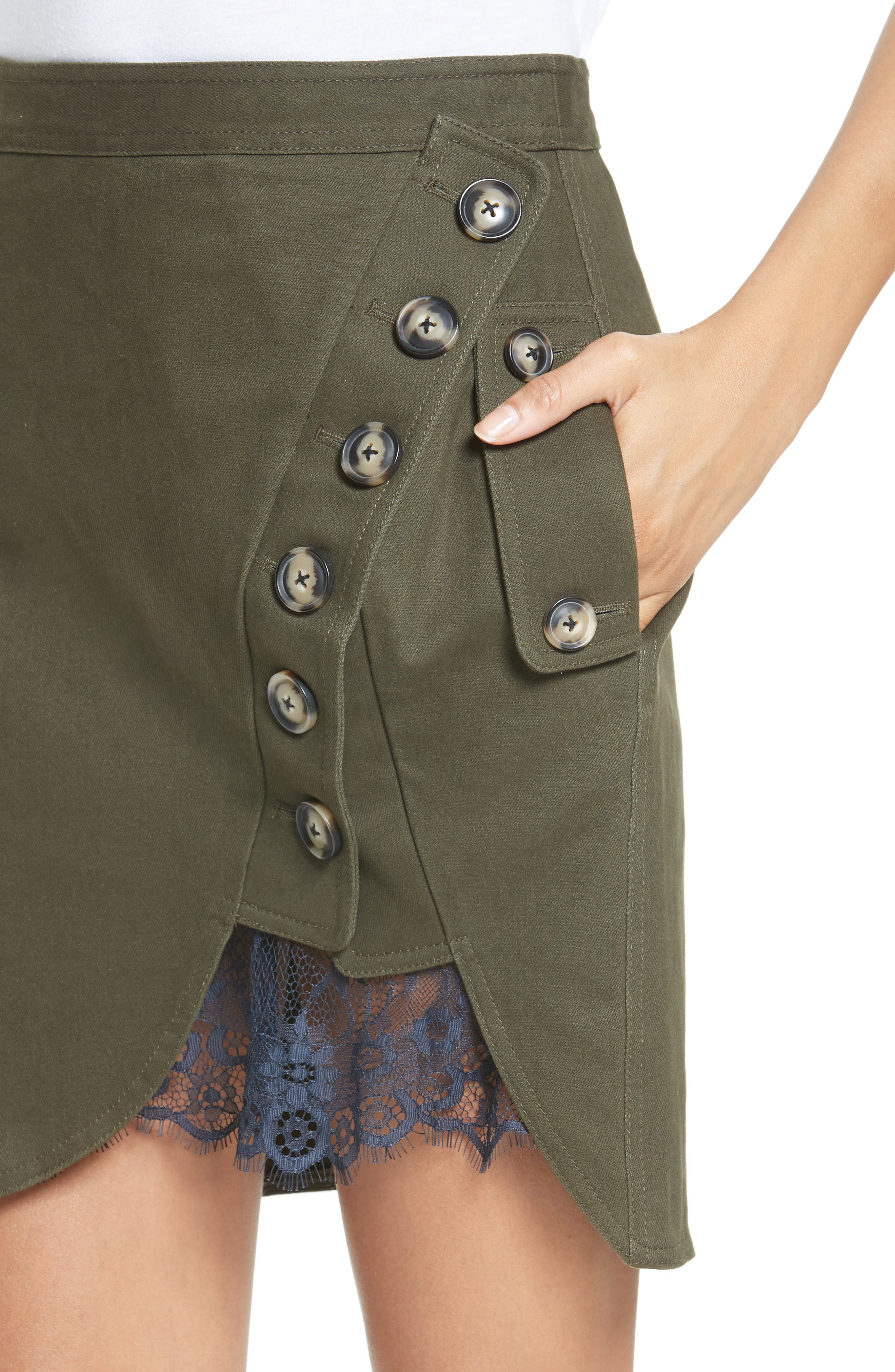 Alternate Image 4  - Self-Portrait Utility Miniskirt