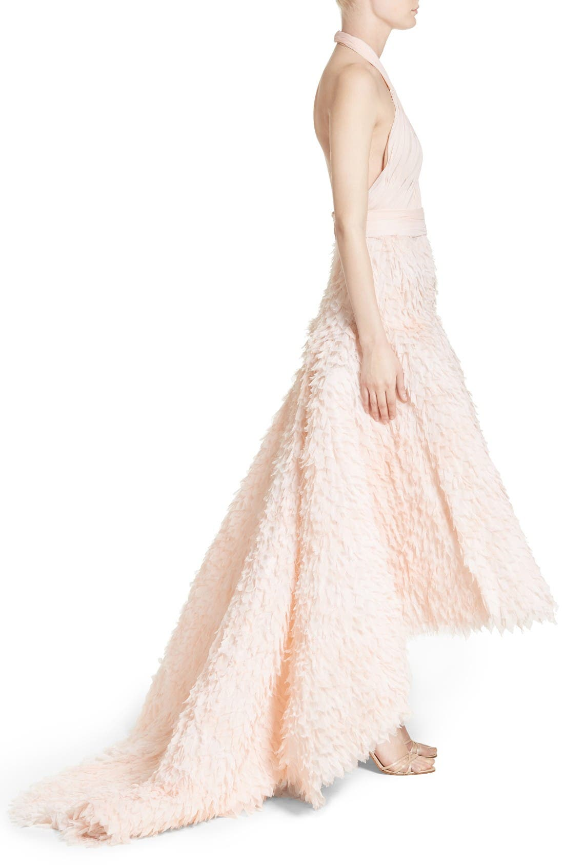 Alternate Image 4  - Marchesa Draped Bodice Crepe Halter Gown
