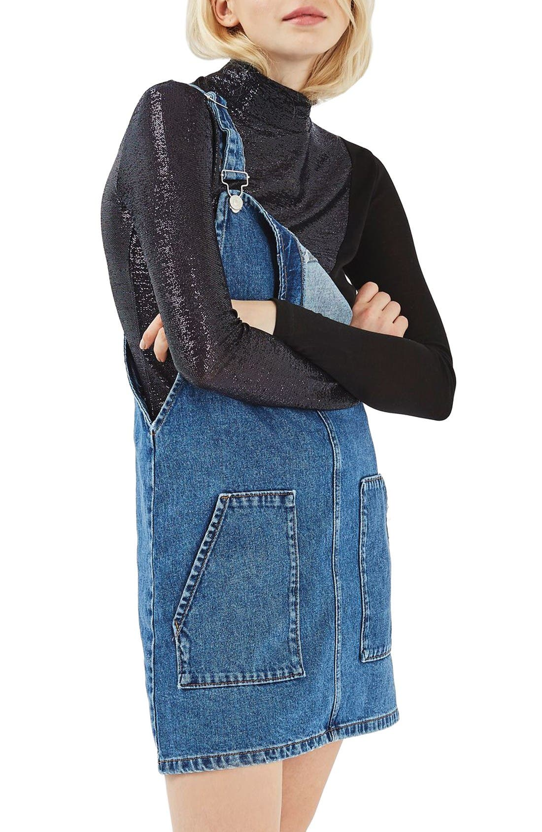 Alternate Image 1 Selected - Topshop Denim Pinafore Dress (Regular & Petite)