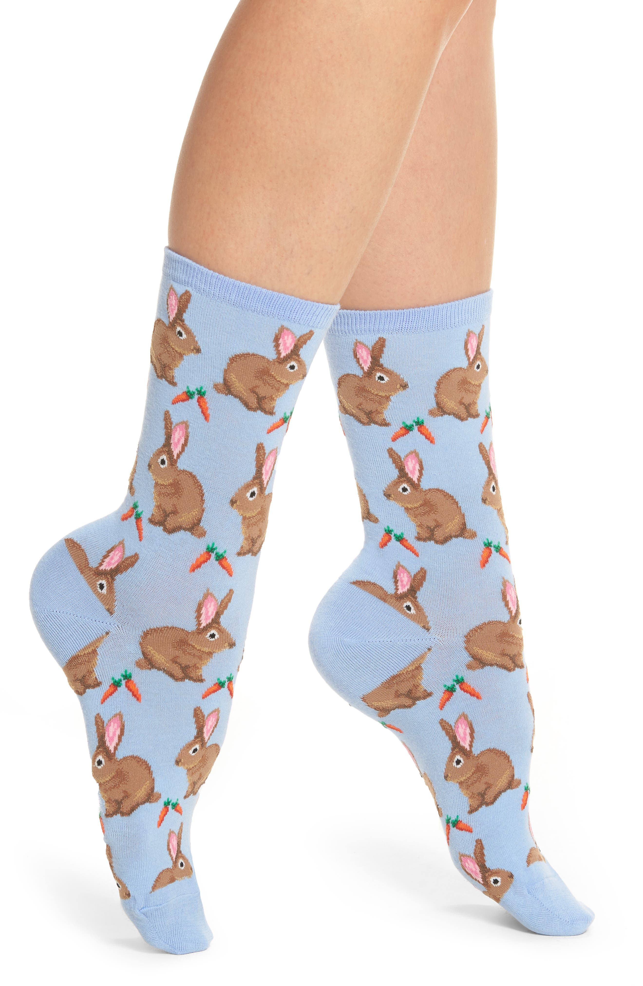 Main Image - Hot Sox Bunnies Crew Socks (3 for $15)