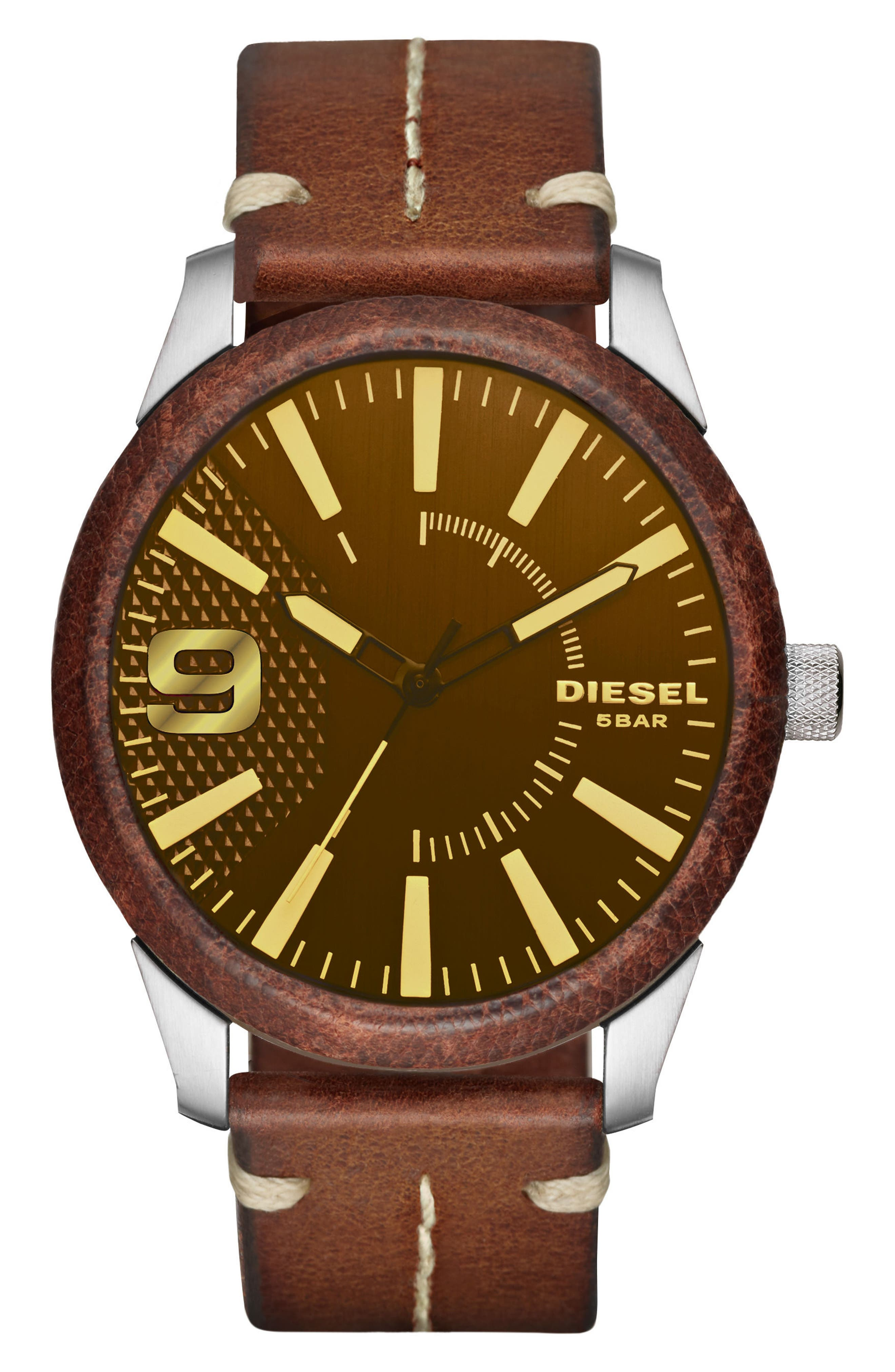 DIESEL® Rasp Leather Wrapped Strap Watch, 46mm