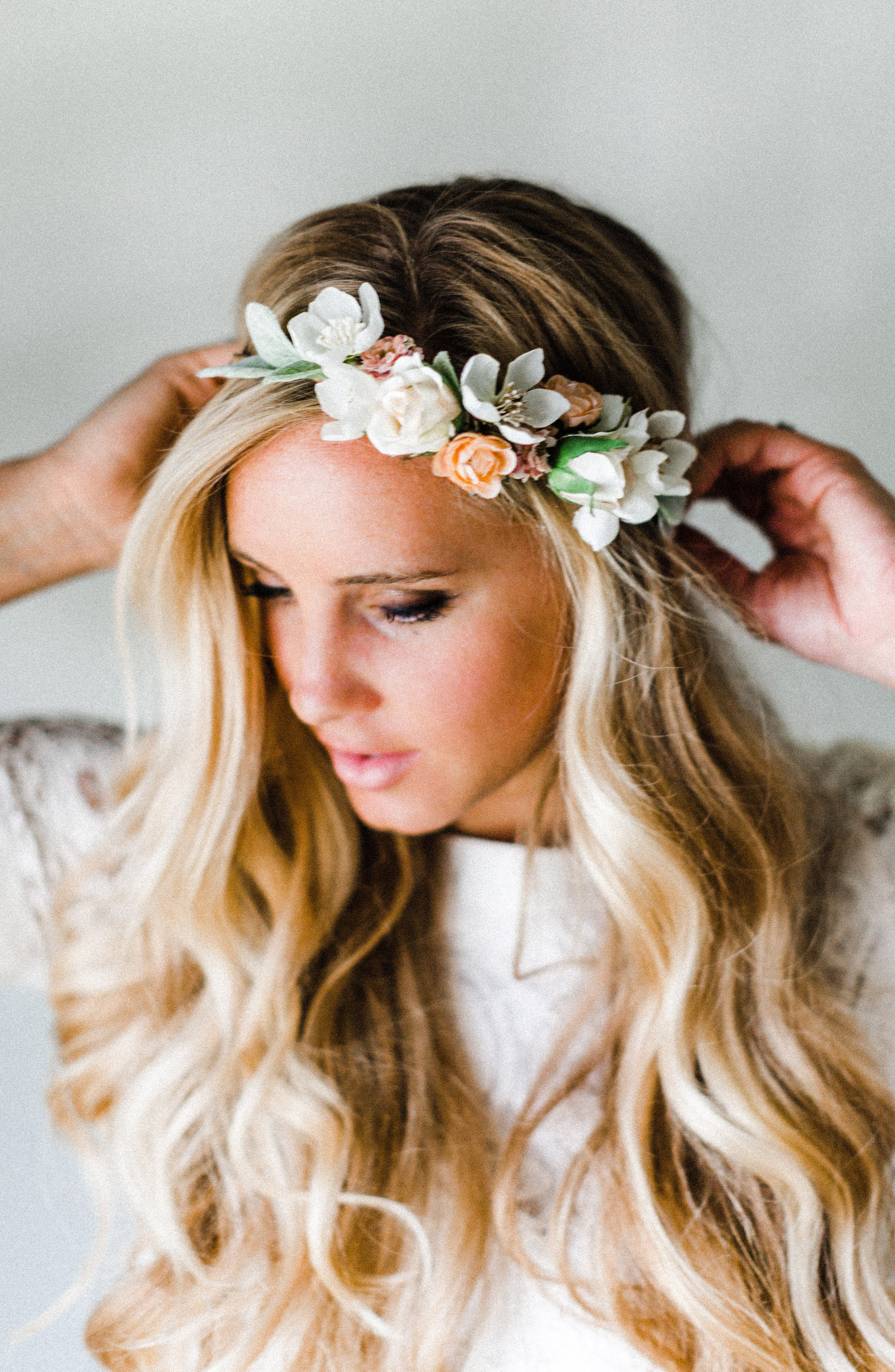 Alternate Image 2  - Emily Rose Flower Crowns Neutral Blooms Silk Flower Crown