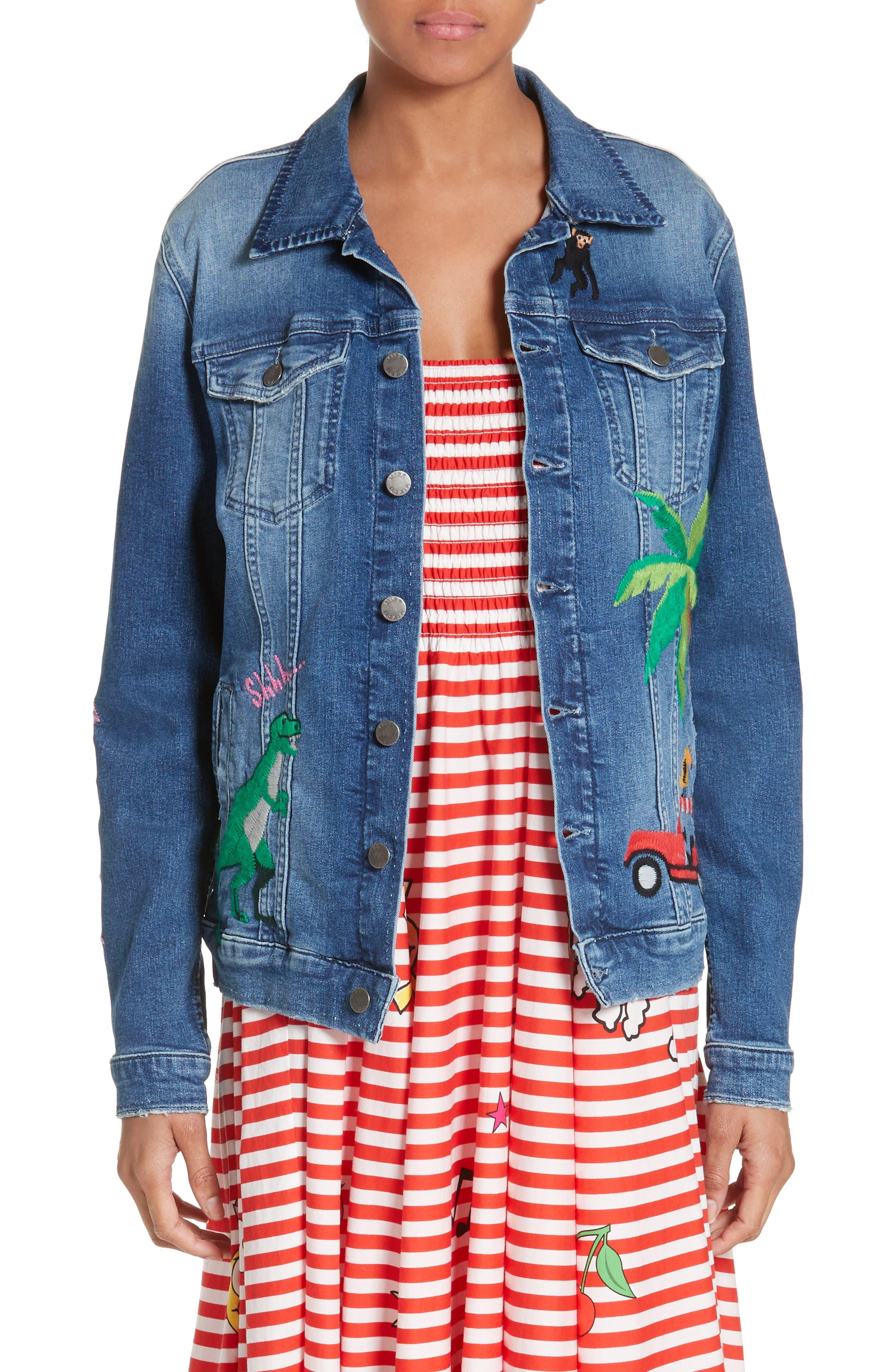 Alternate Image 1 Selected - Mira Mikati Rainforest Embroidered Denim Jacket