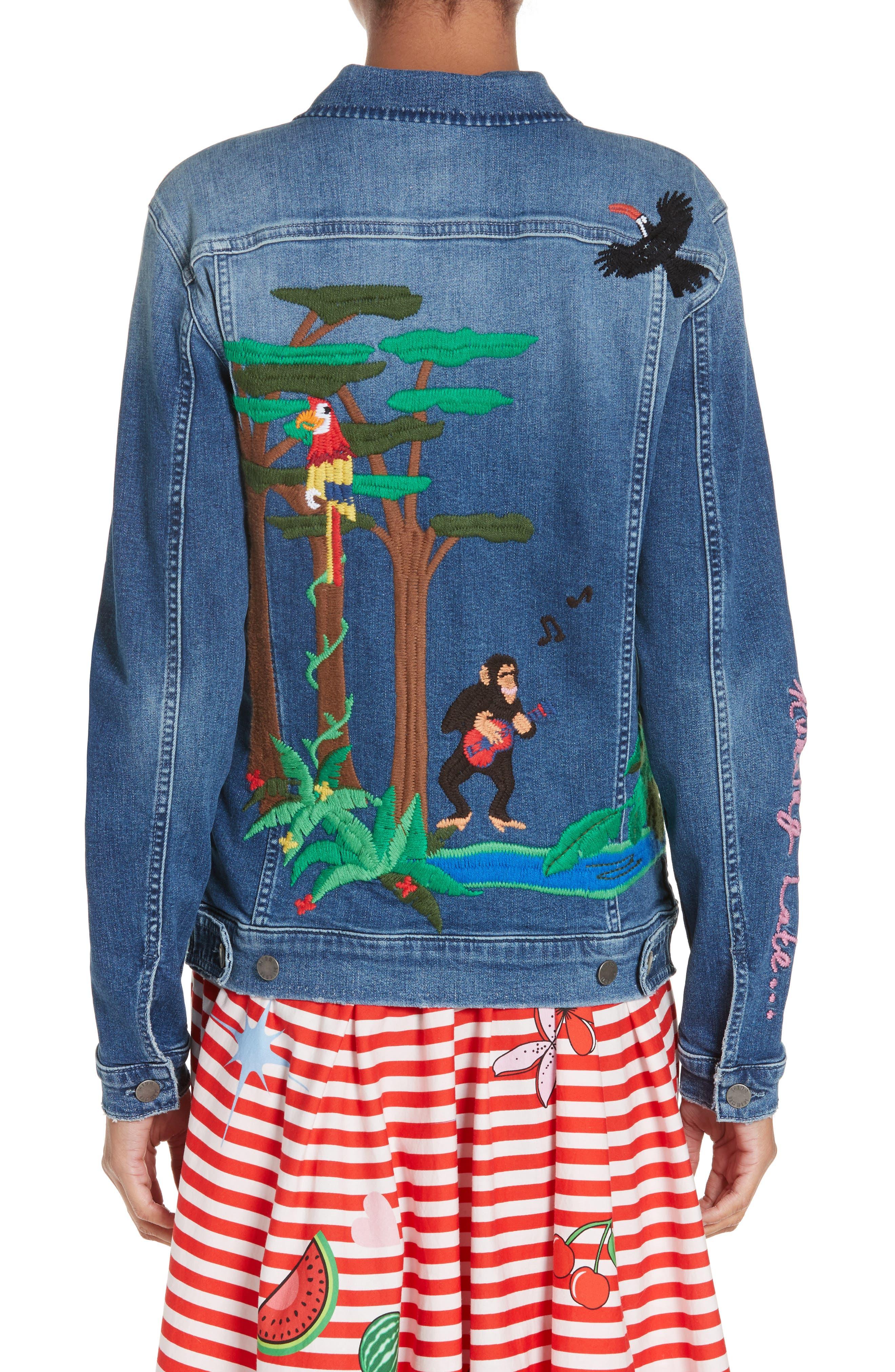 Alternate Image 2  - Mira Mikati Rainforest Embroidered Denim Jacket