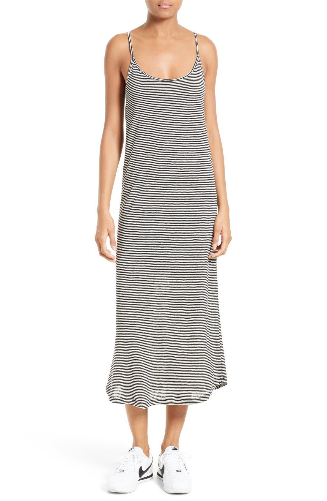 Alternate Image 1 Selected - A.L.C. Asher Stripe Linen Midi Dress
