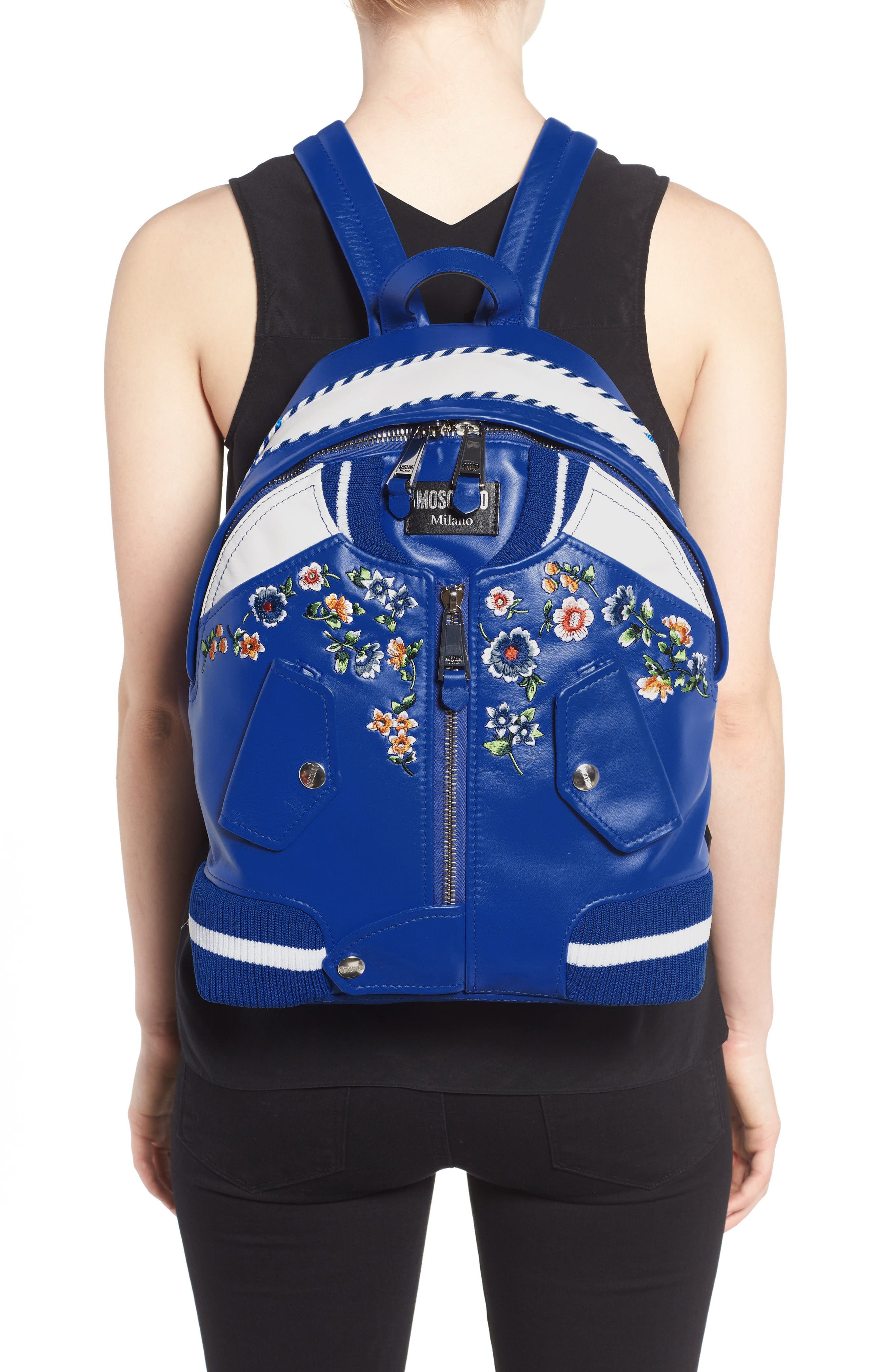 Alternate Image 2  - Moschino Embroidered Floral Bomber Jacket Leather Backpack