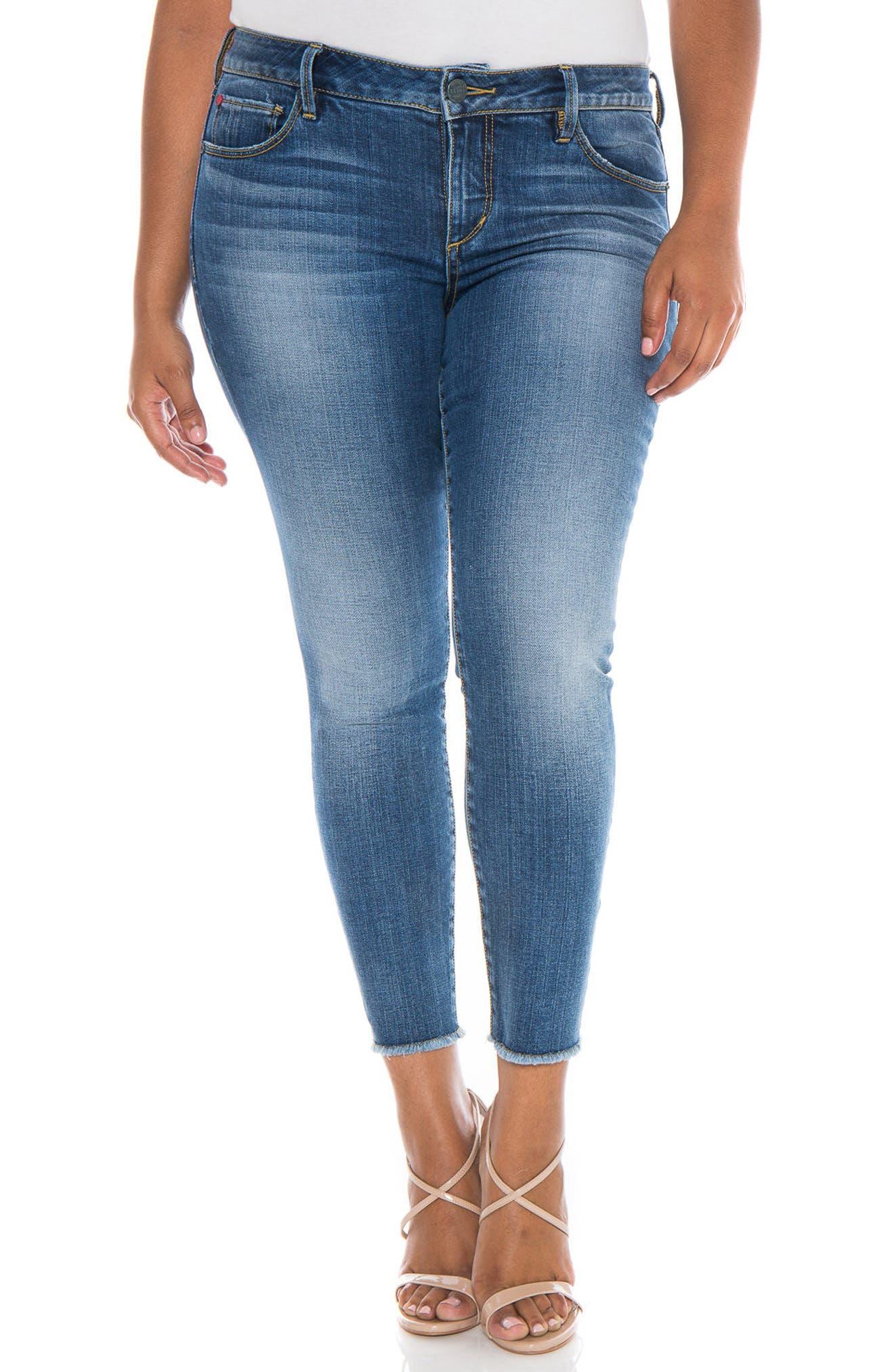 SLINK Jeans Frayed Hem Ankle Jeans (Veronica) (Plus Size) | Nordstrom