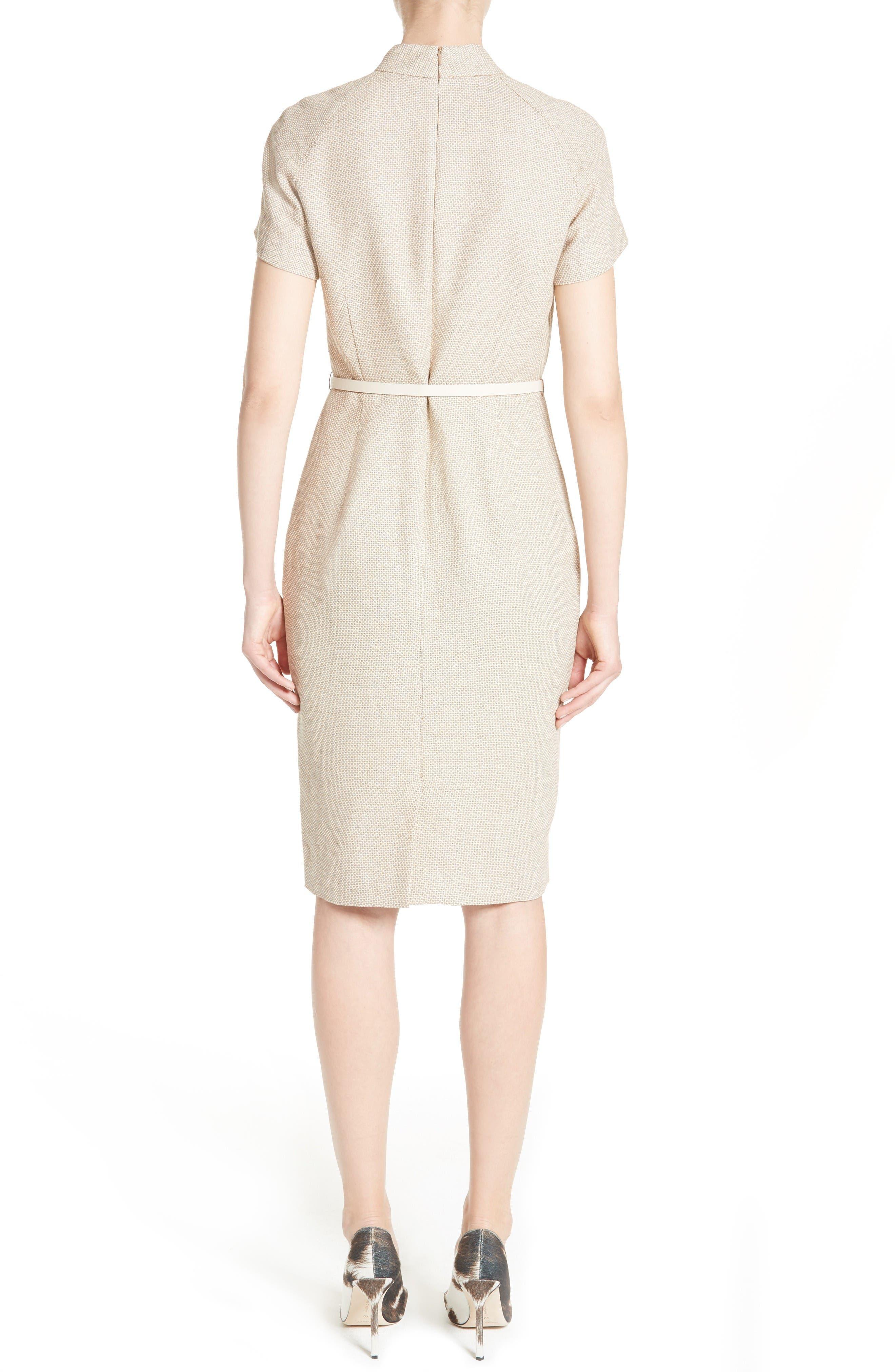 Alternate Image 2  - Max Mara Azeglio Belted Linen Sheath Dress