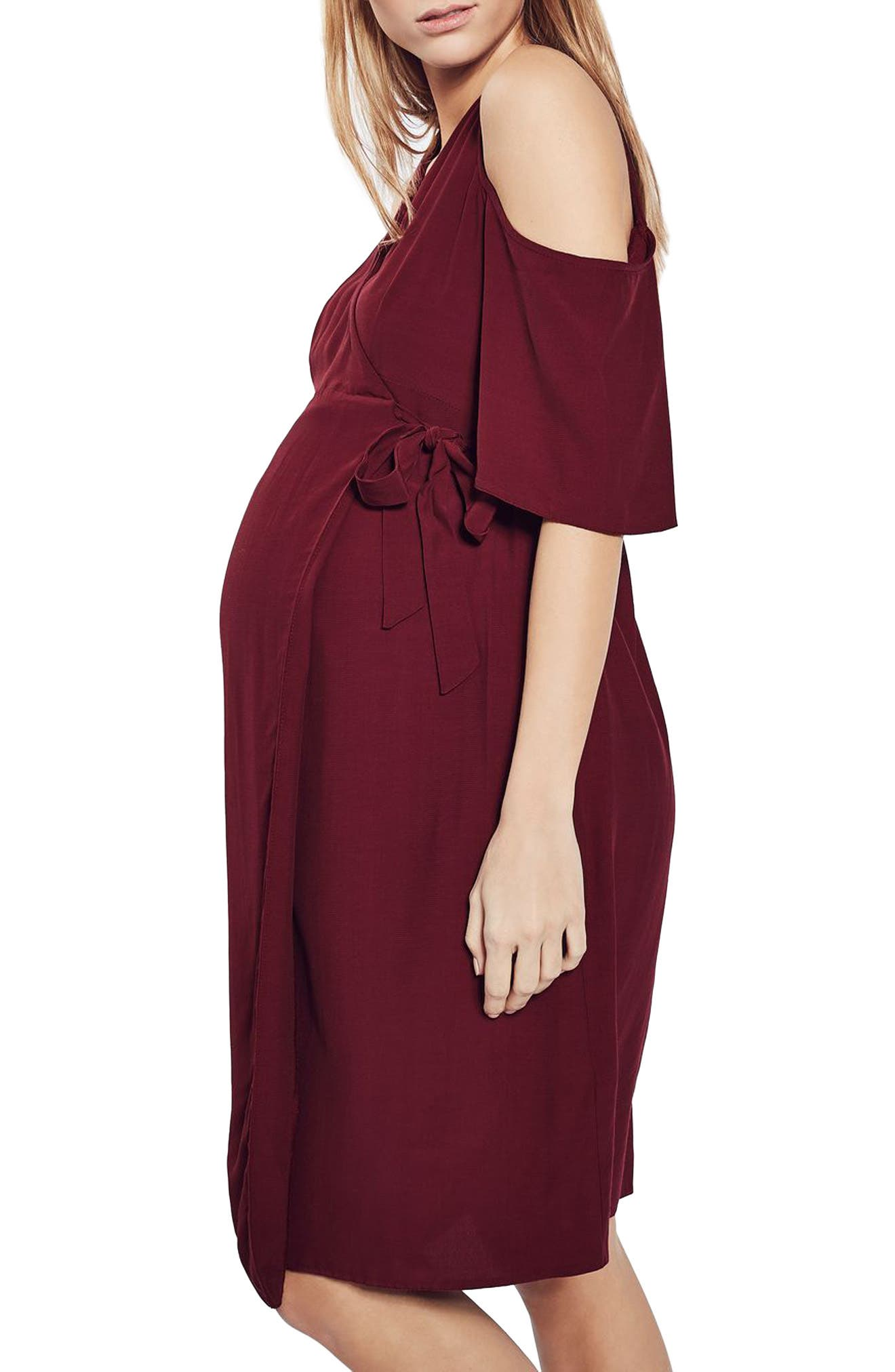 Alternate Image 4  - Topshop Cold Shoulder Wrap Maternity Dress