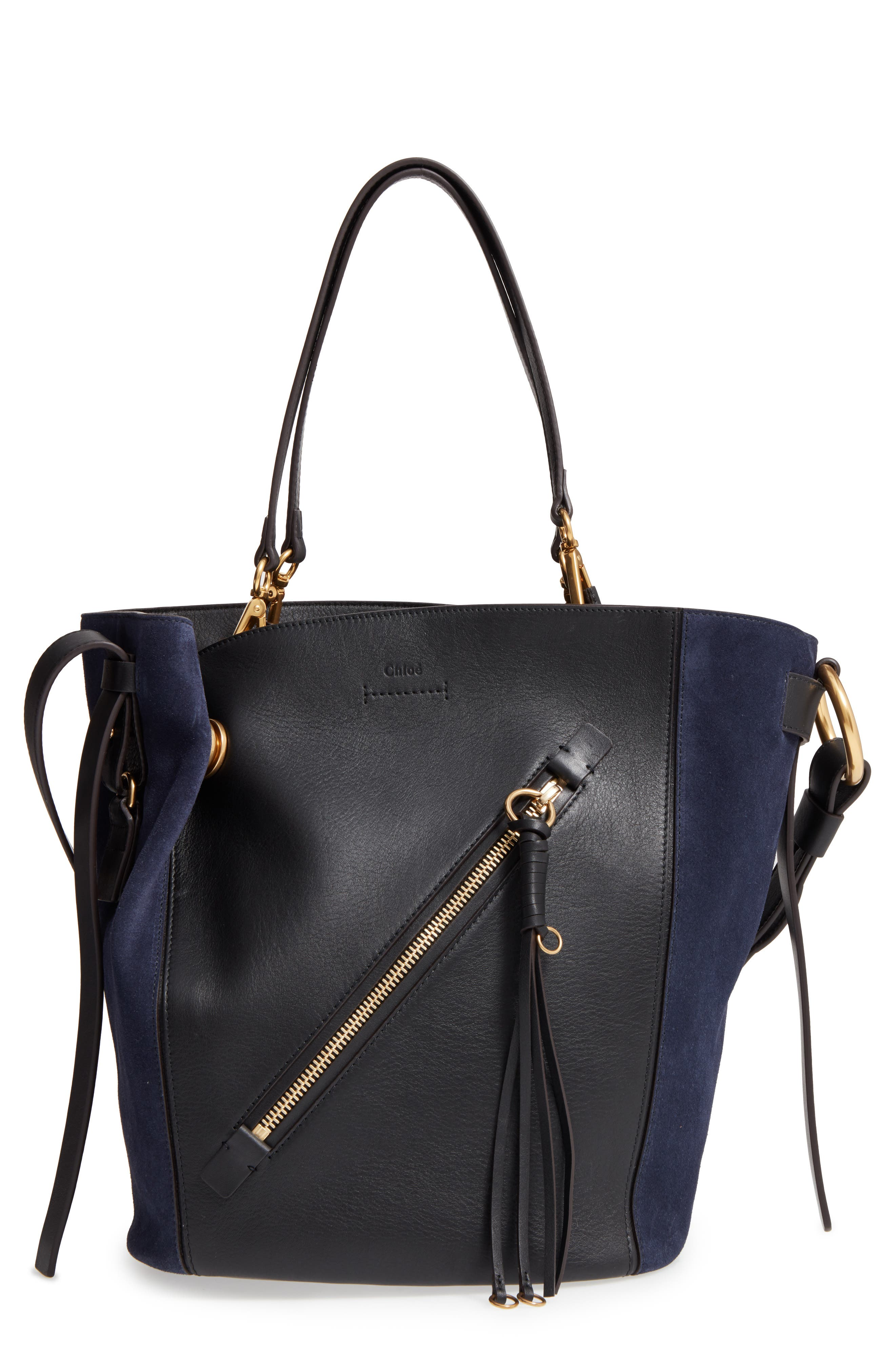 CHLOÉ Medium Myer Calfskin Leather & Suede Tote