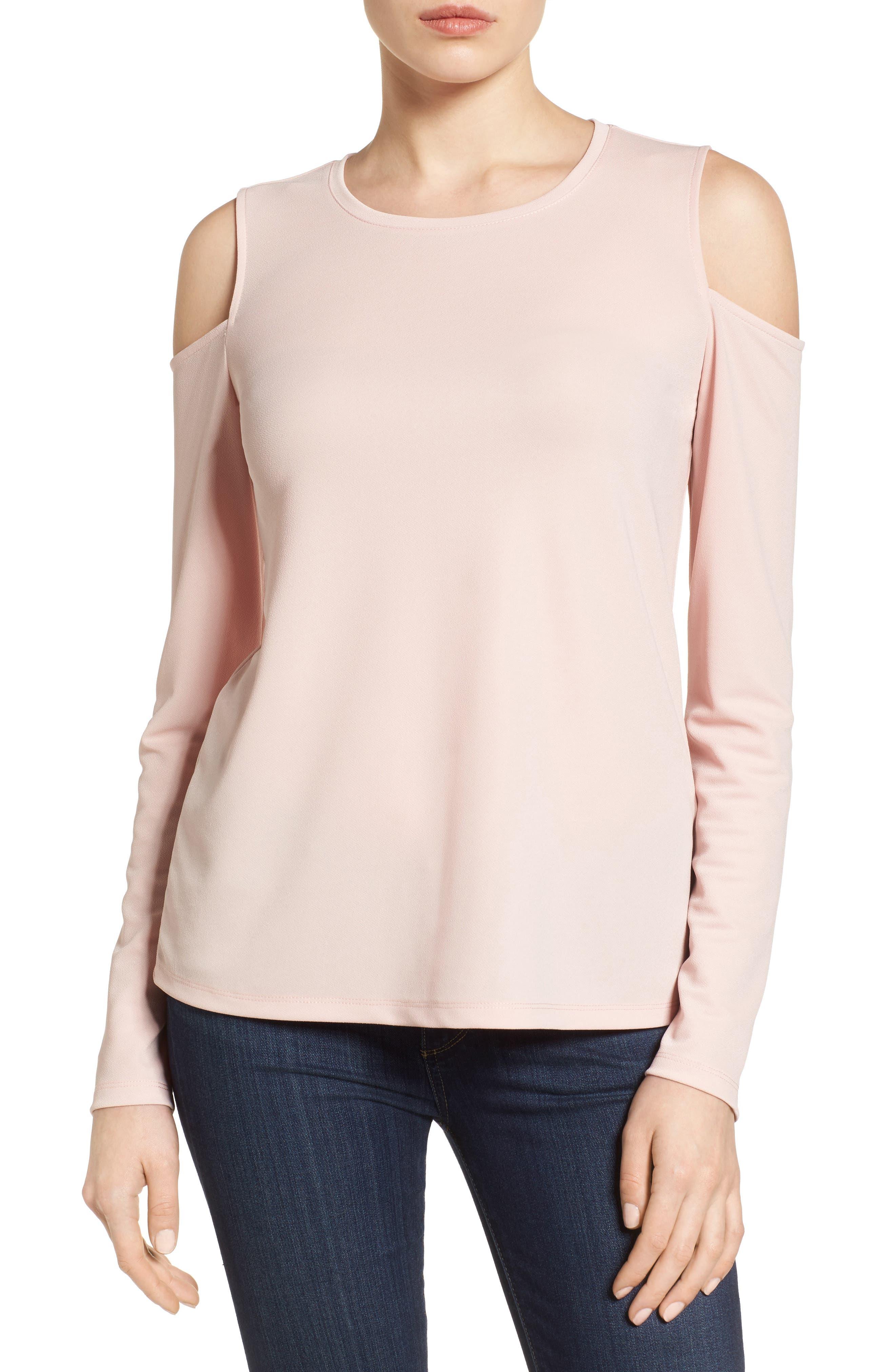 Main Image - Halogen® Stretch Knit Cold Shoulder Top (Regular & Petite)