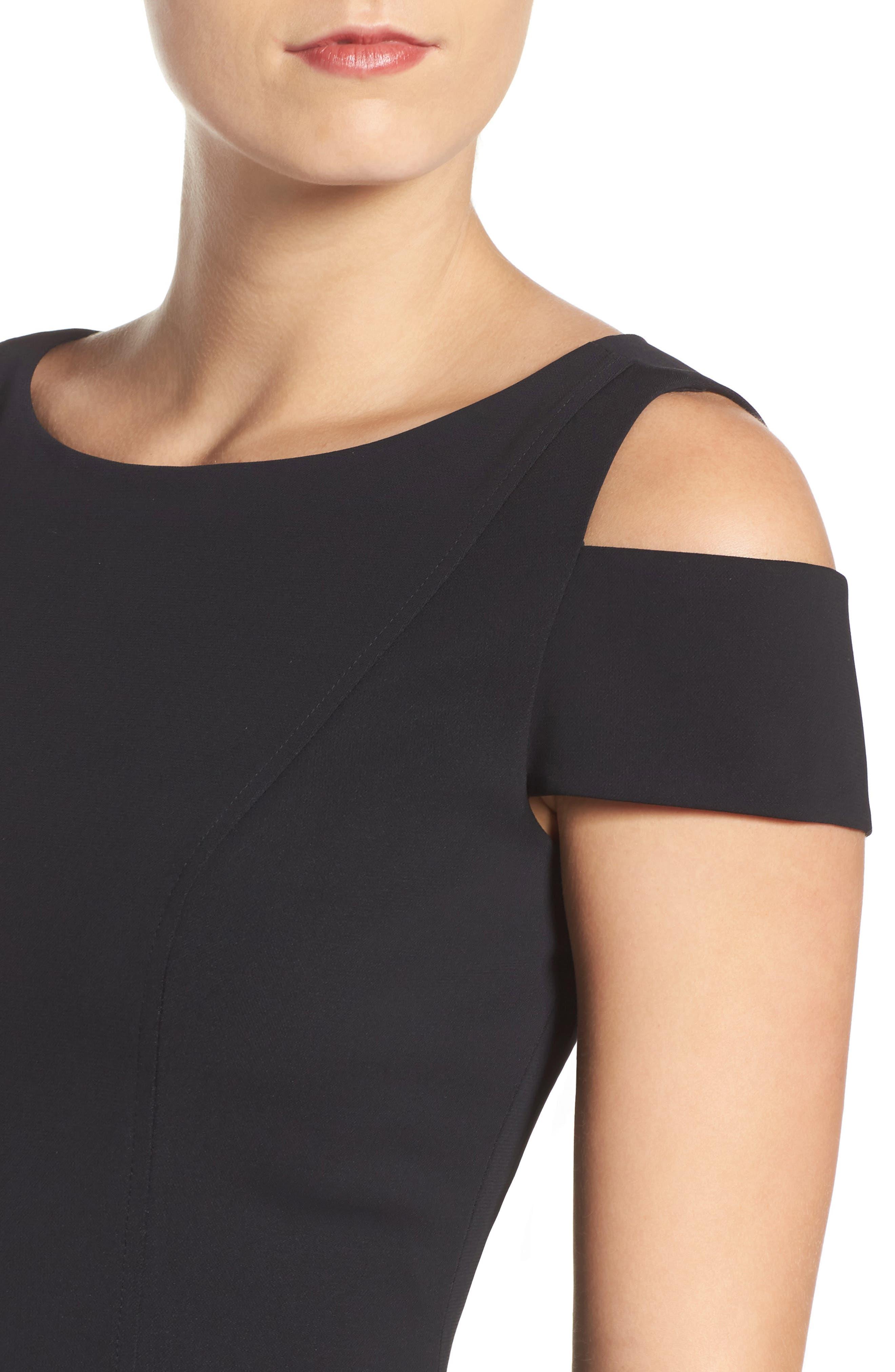 Alternate Image 5  - Adrianna Papell Cold Shoulder Stretch A-Line Dress
