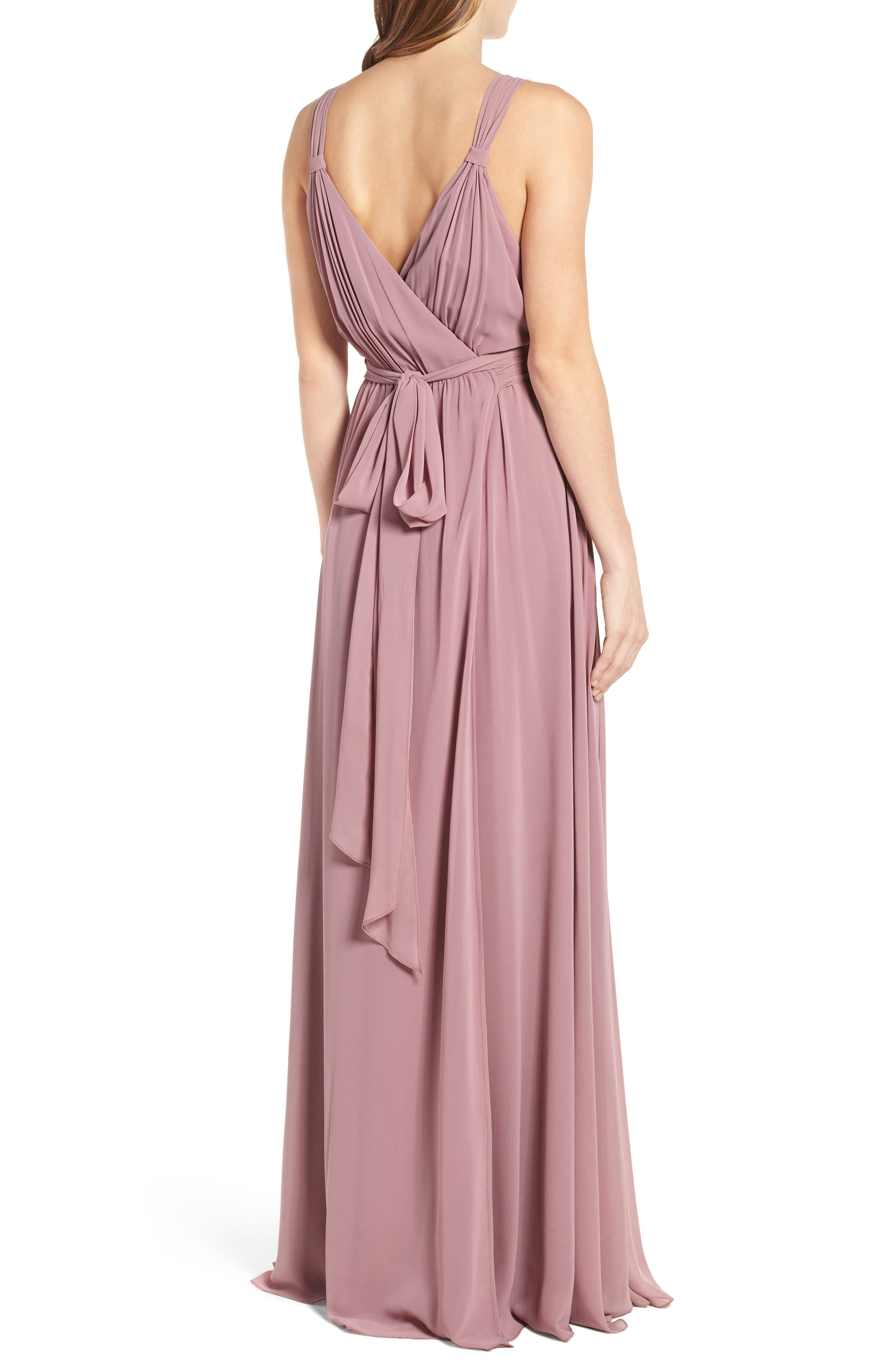 Alternate Image 3  - Ceremony by Joanna August Knot Strap Chiffon Wrap Gown
