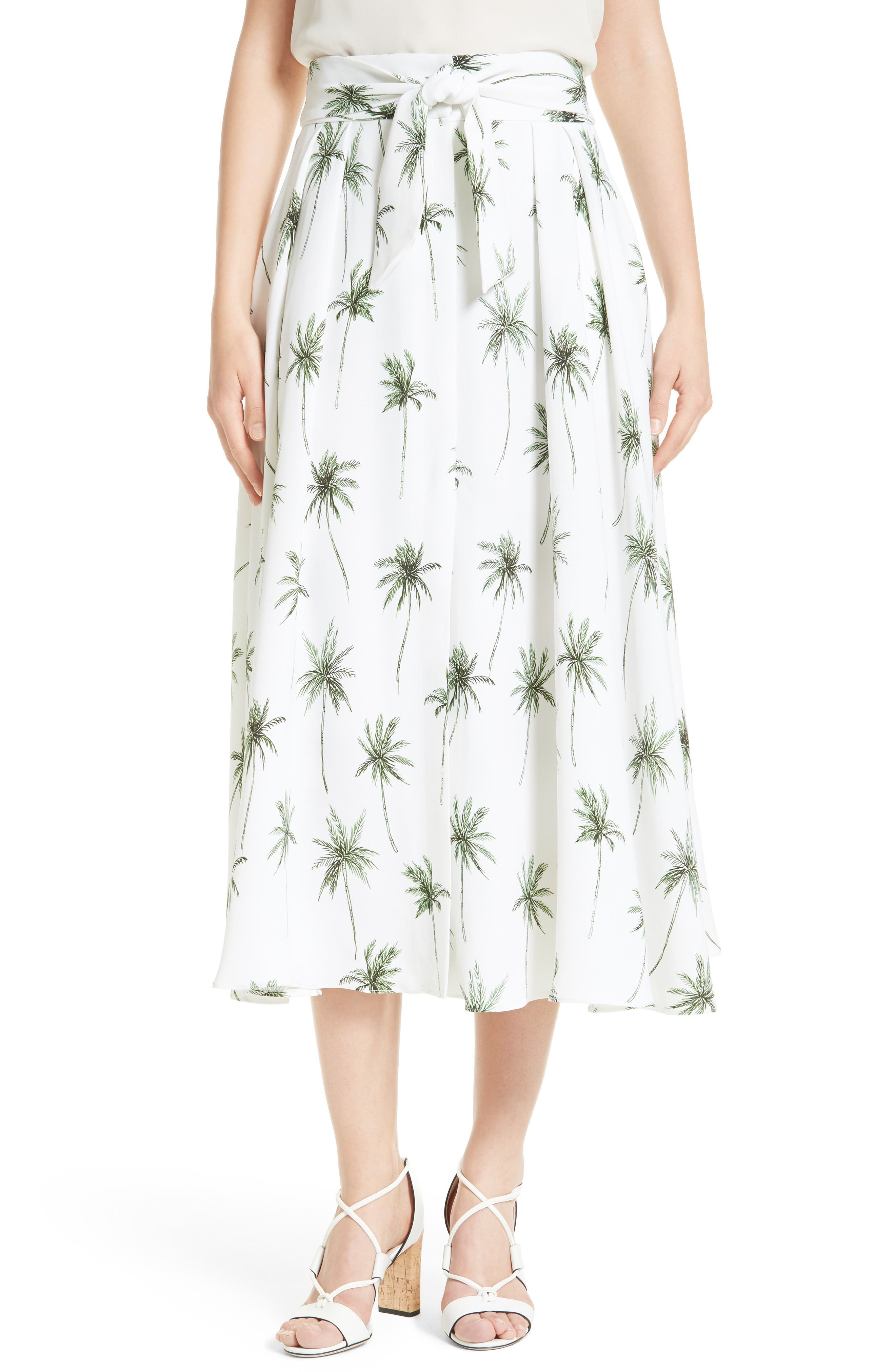 Milly Palm Tree Print Cady Midi Skirt